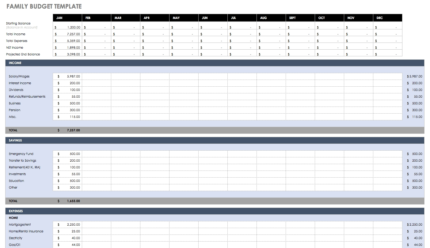 Free Monthly Budget Templates | Smartsheet-Monthly Bill Planner Template