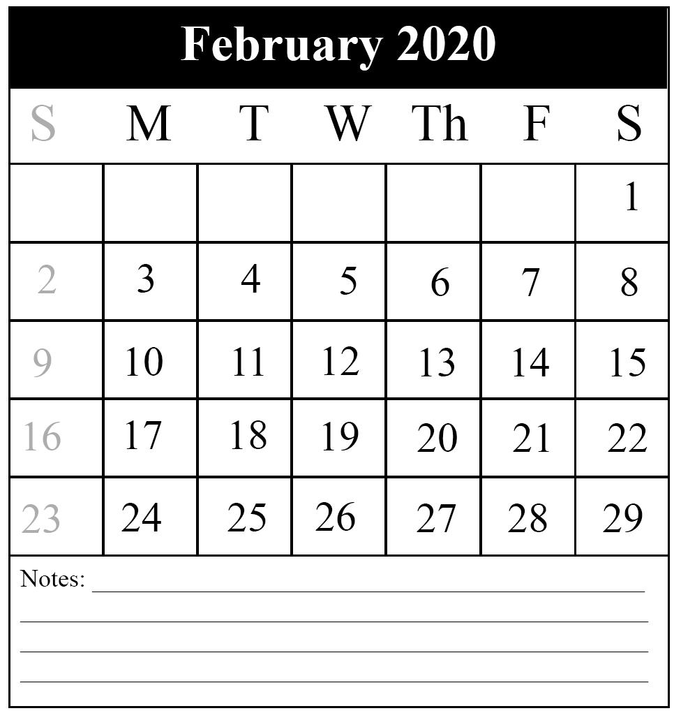 Free Monthly February Calendar 2020 Printable Template-Free Printable Monthly Calendar 2020 With Time Slots