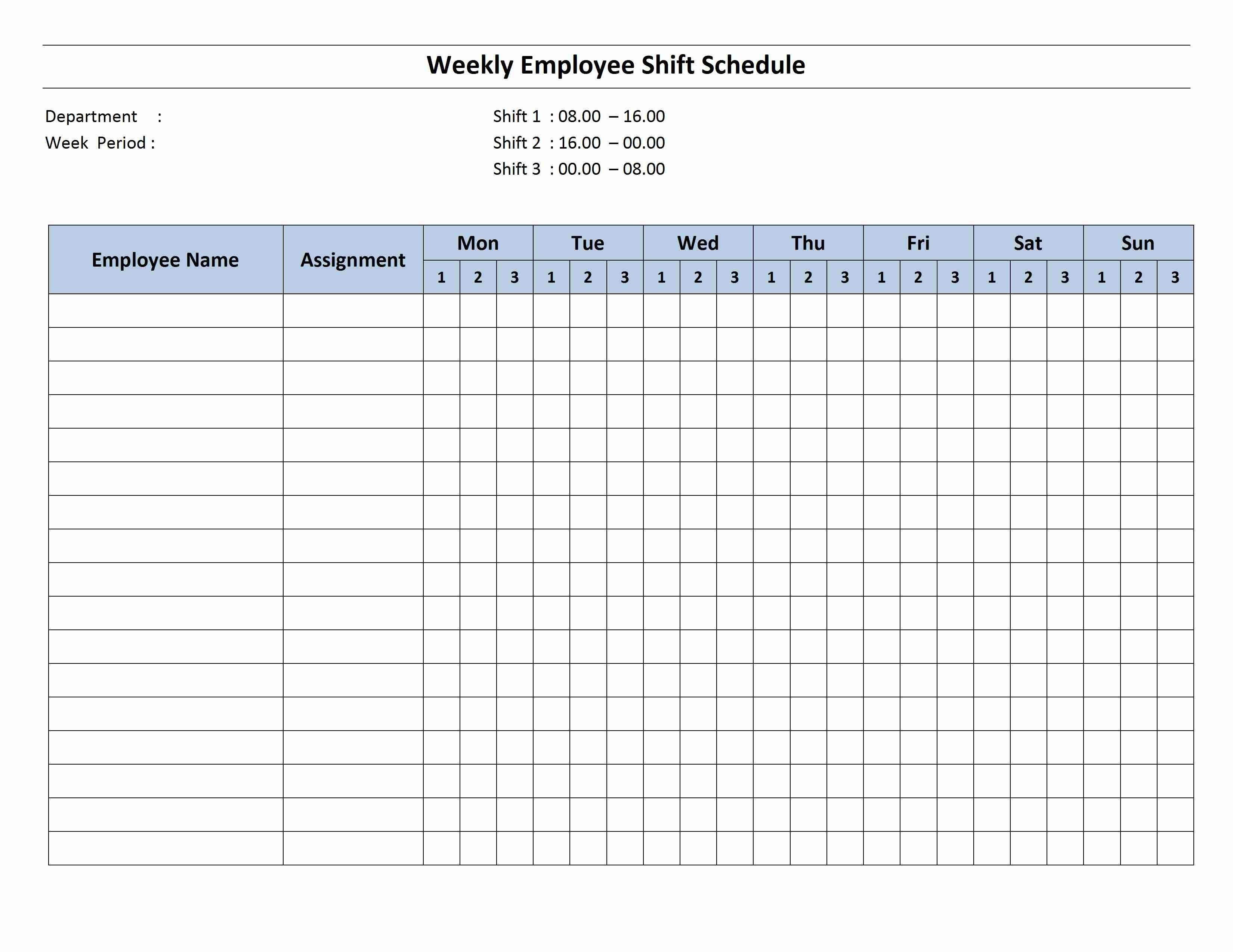 Free Monthly Work Schedule Template | Weekly Employee 8 Hour-Shift Planner Templates Printable