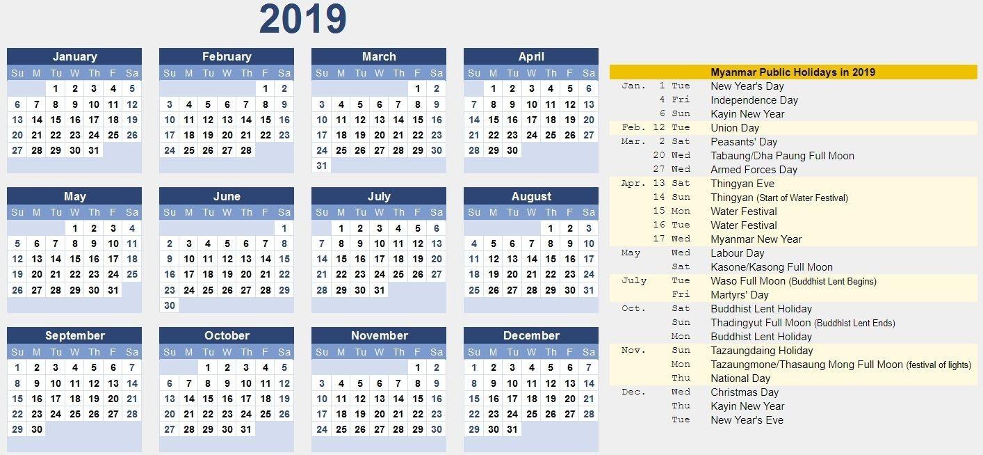Free Myanmar Calendar 2019 Pdf, Excel, Word Template-Free Printable 4X6 Calendars 2020 Templates