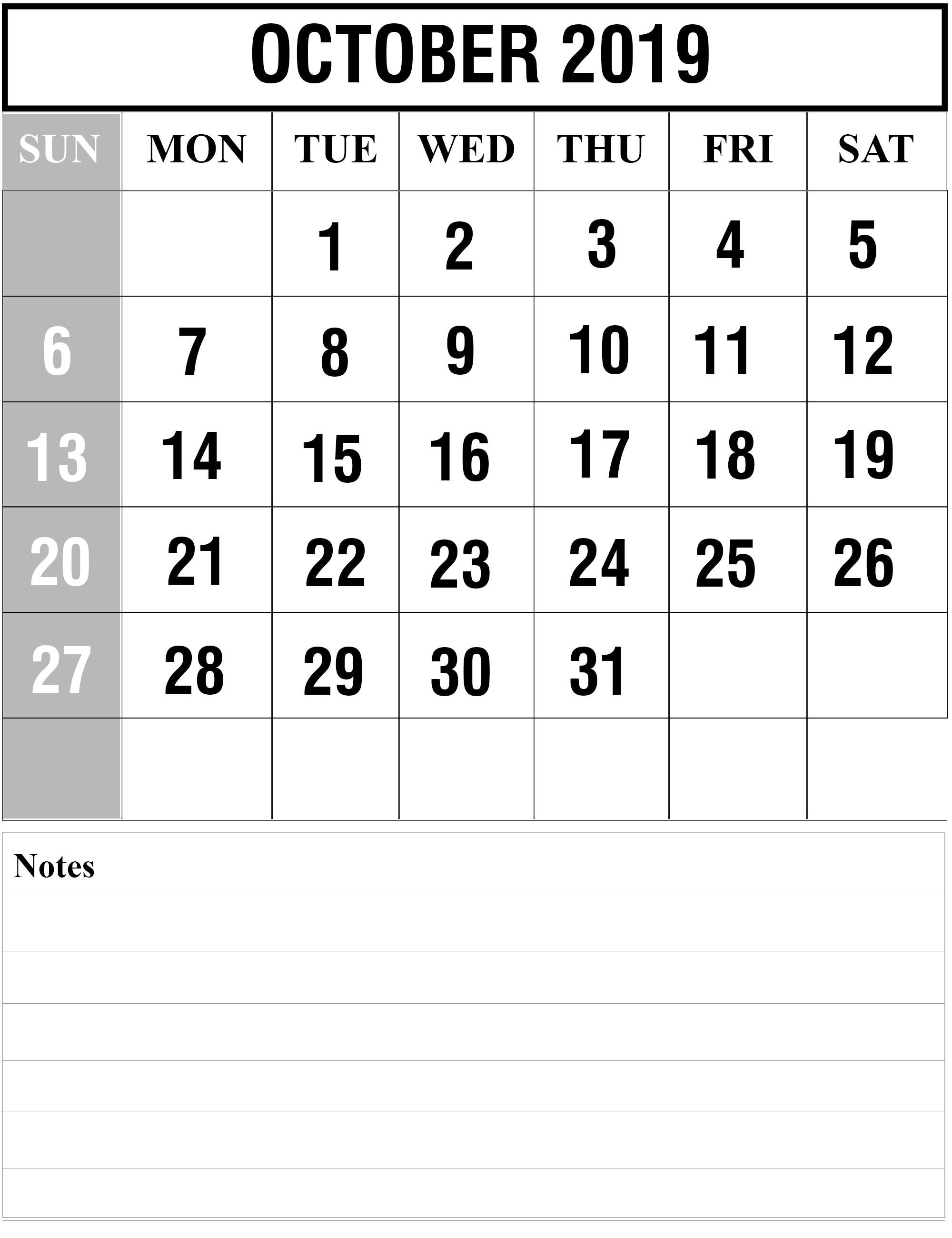 Free October 2019 Printable Calendar Blank Templates-Calendar Template 2020 Printable Free With Prior And Next Month