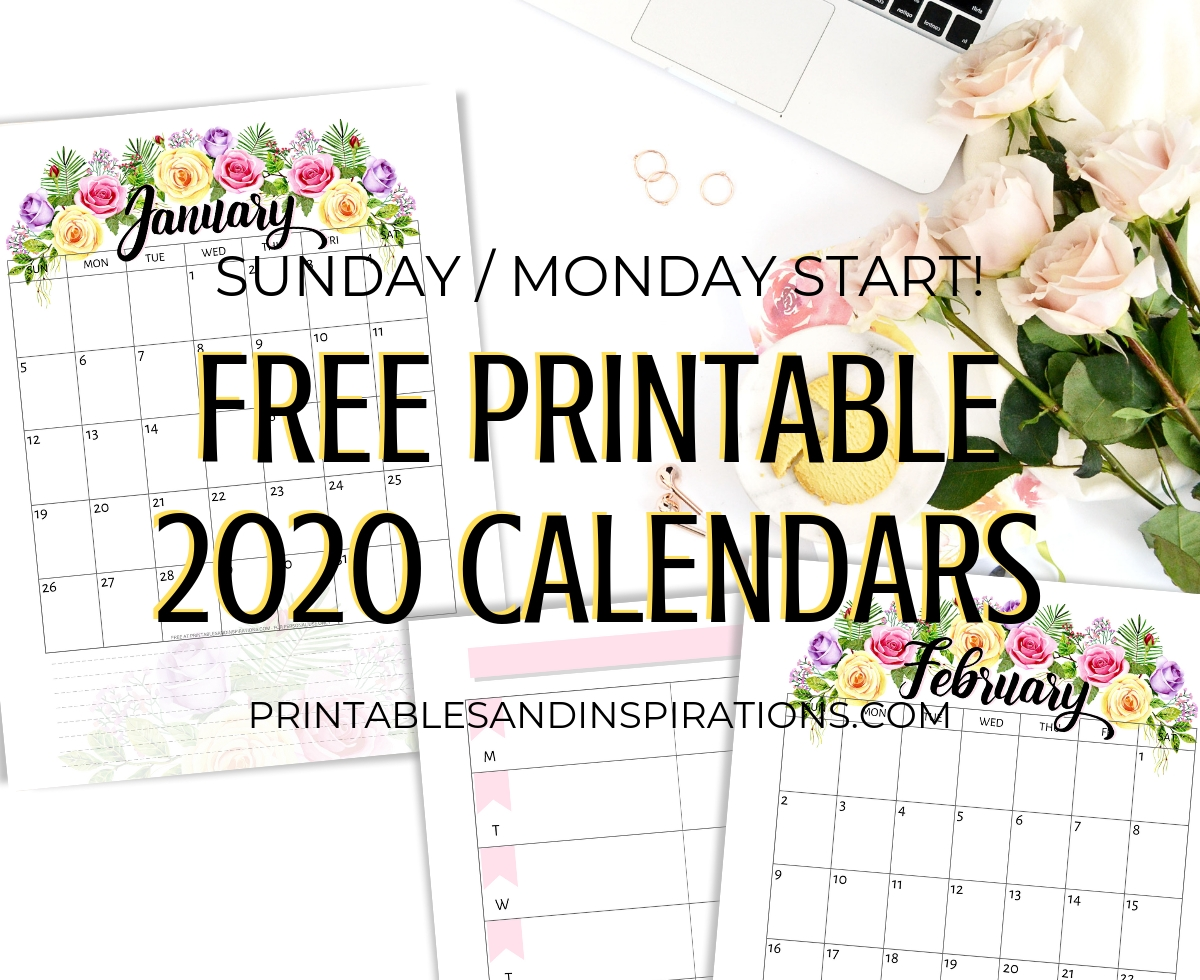 Free Printable 2020 Calendar With Flowers - Printables And-Printable Calendar 2020 Monthly On 2 Pages