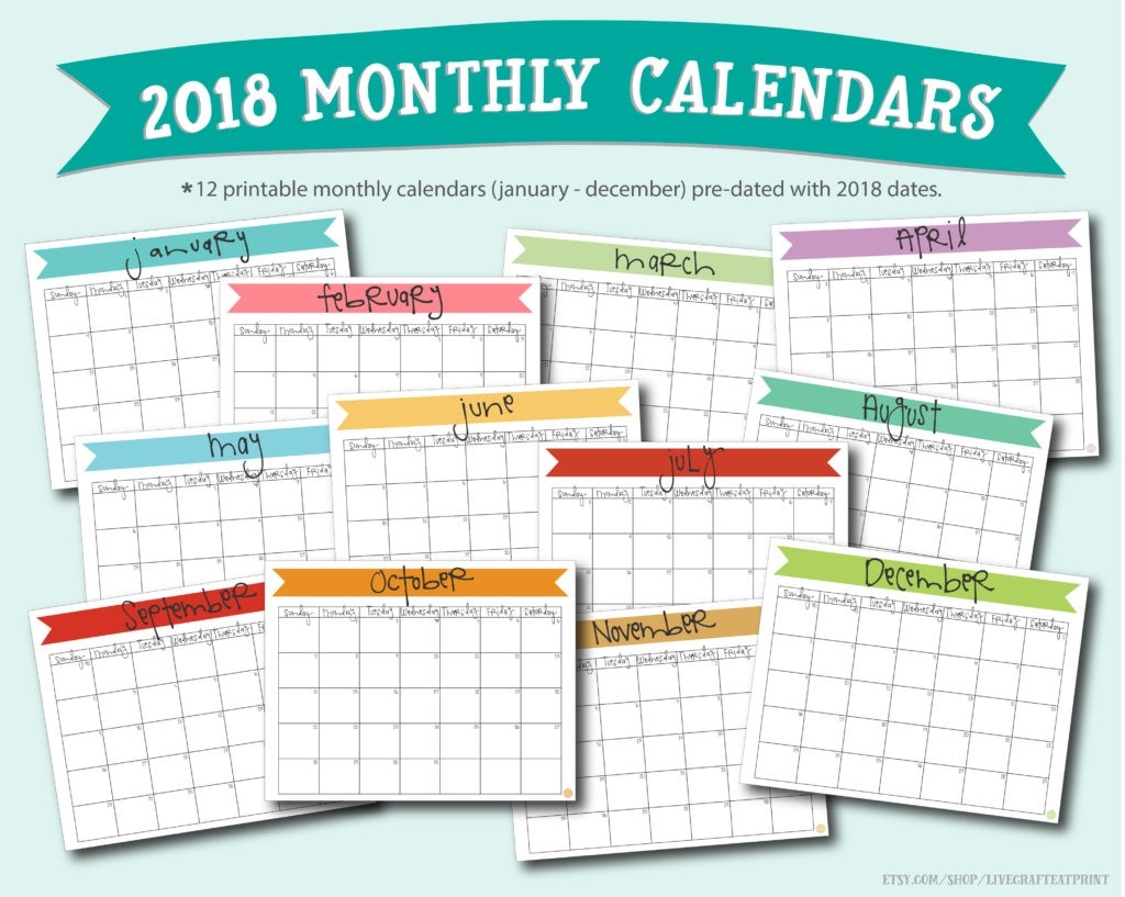 Free Printable A5 2018 Monthly Calendars | Live Craft Eat-5X8 Calendar Free Template