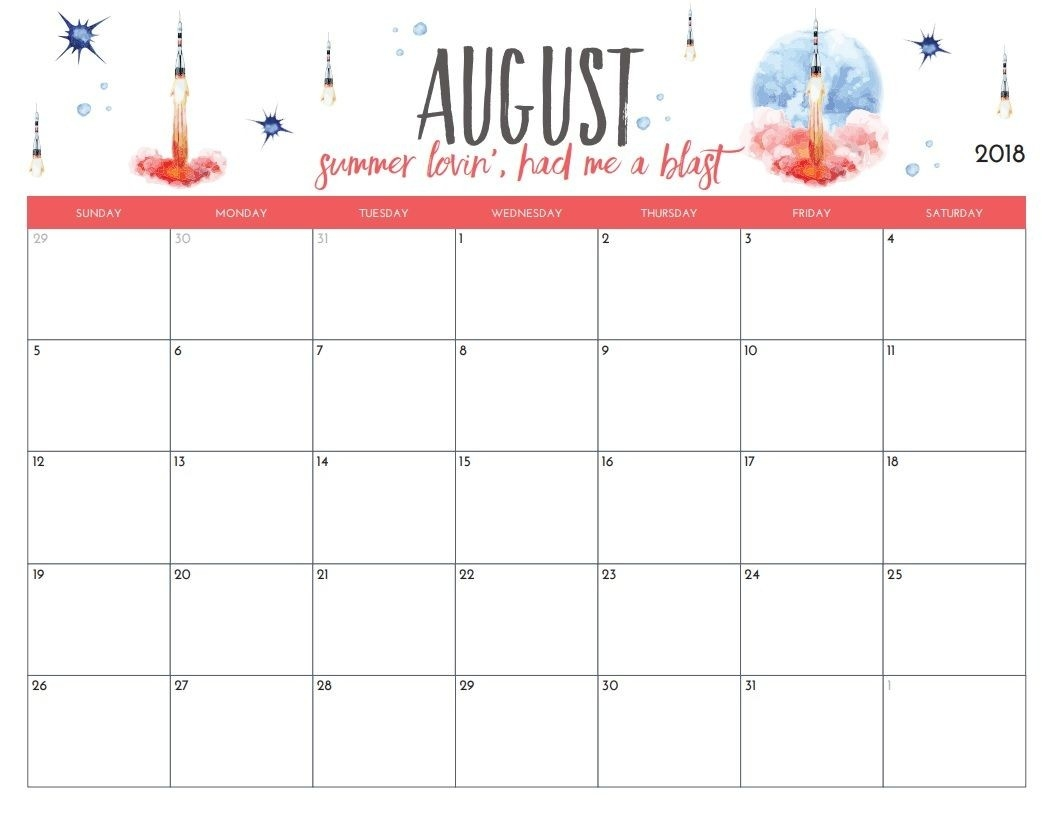 Free Printable August 2018 Monthly Calendar | Printables-8X 10 Monthly Calaendar Printable
