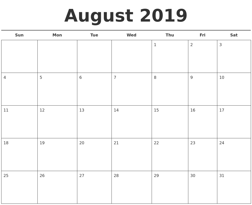 Free Printable August 2019 Calendar Landscape - Free-Blank Calandar With Big Squares