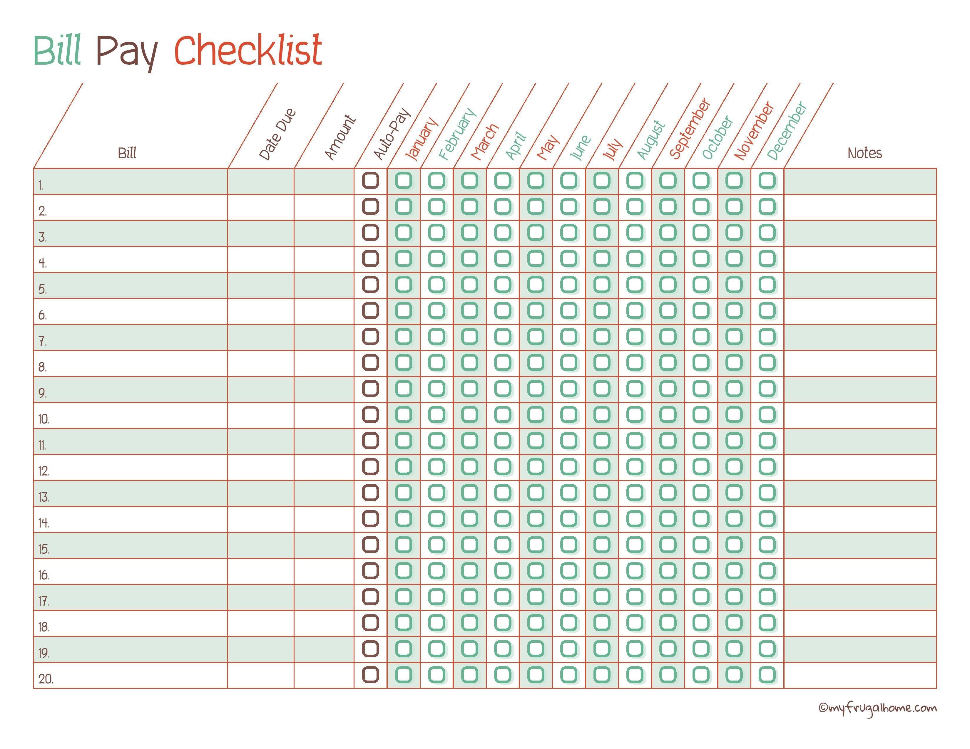 Free Printable Bill Pay Calendar Templates-List Of Bills Template