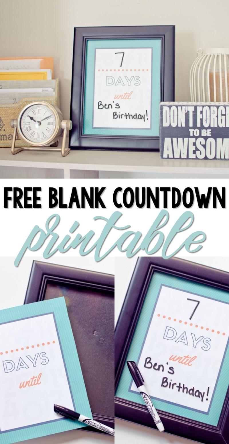 Free Printable Blank Countdown - A Grande Life-Blank Countdown Calendar 50 Days