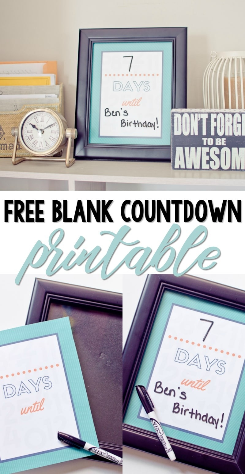 Free Printable Blank Countdown - A Grande Life-Printable Coutndown Days Template