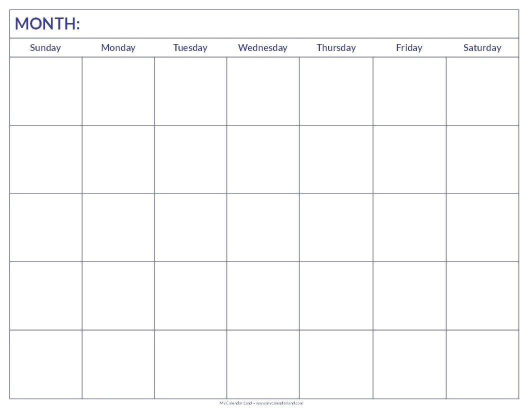 Free Printable Blank Monthly Calendar | Student Handouts-Blank Countdown Calendar 50 Days