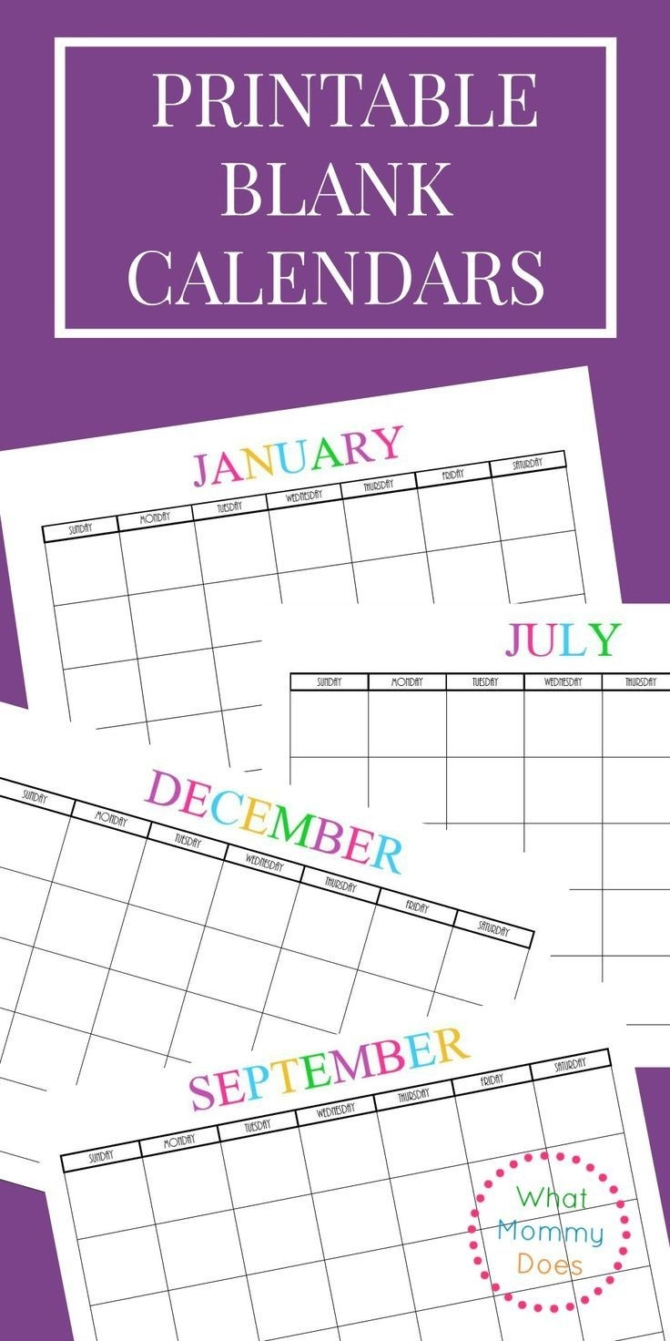 Free Printable Blank Monthly Calendars – 2018, 2019, 2020-8.5 By 11 Blank Calendar Month