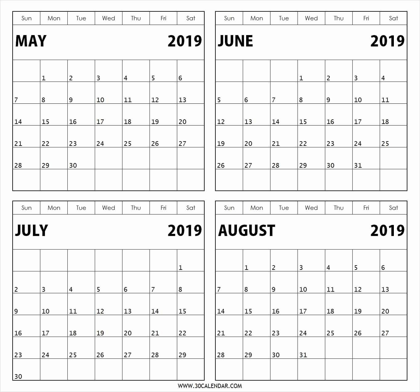 Free Printable Calendar 3 Months Per Page 2019 • Printable-Blank Calendar 4 Months One Page