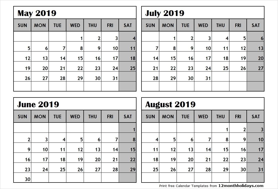 Free Printable Calendar 4 Month • Printable Blank Calendar-Free Calendar Template 4 Months To A Page