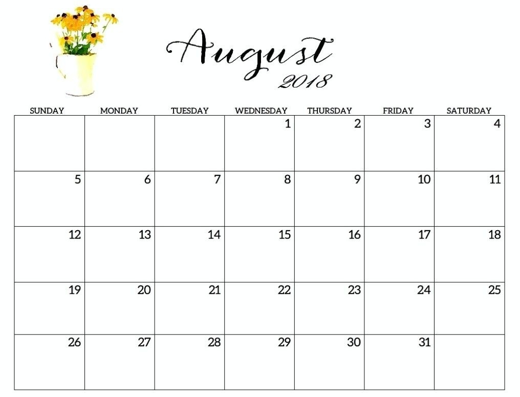 Free Printable Calendar August 2018 2017-June July September-August Monthly Calendar Template