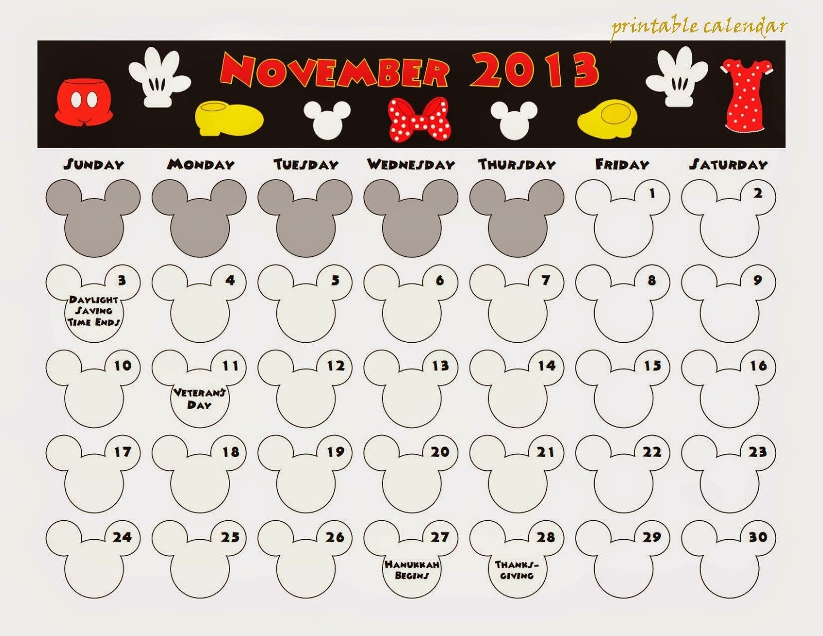 Free Printable Calendar: Free Printable Calendar November-Free Mickey Mouse Printable Monthly Calendar 2020