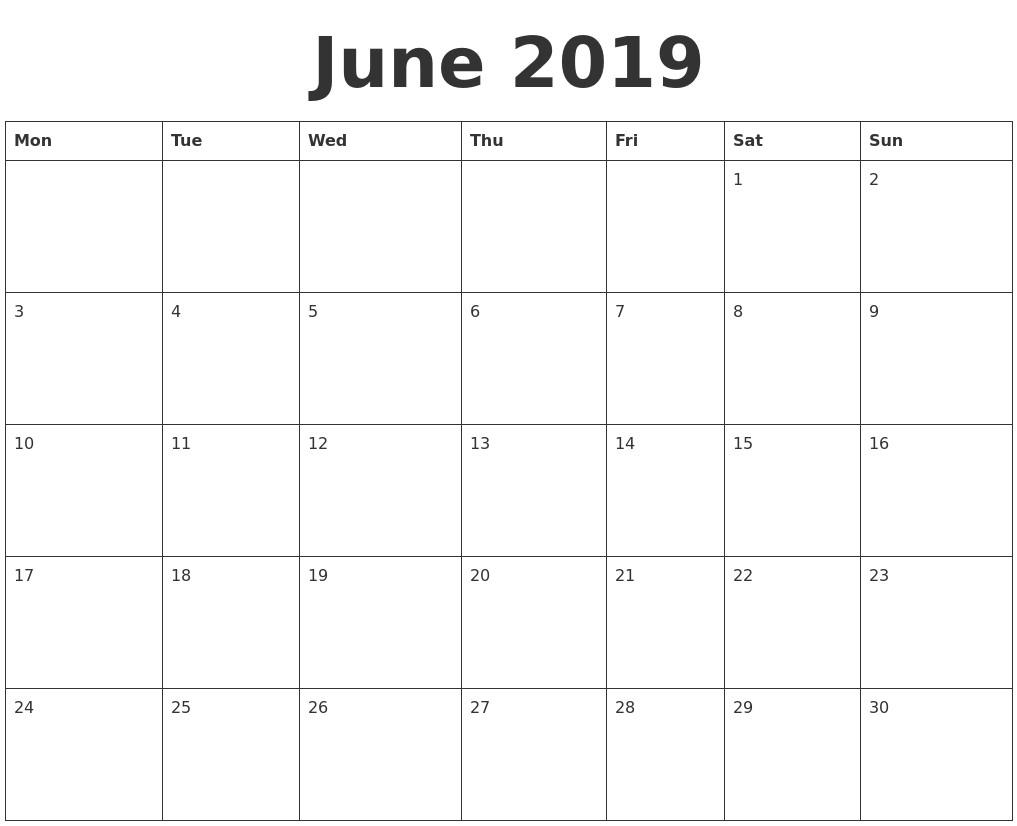Free Printable Calendar June 2019 June 2019 Blank Calendar-Blank Calendar Starting With Monday