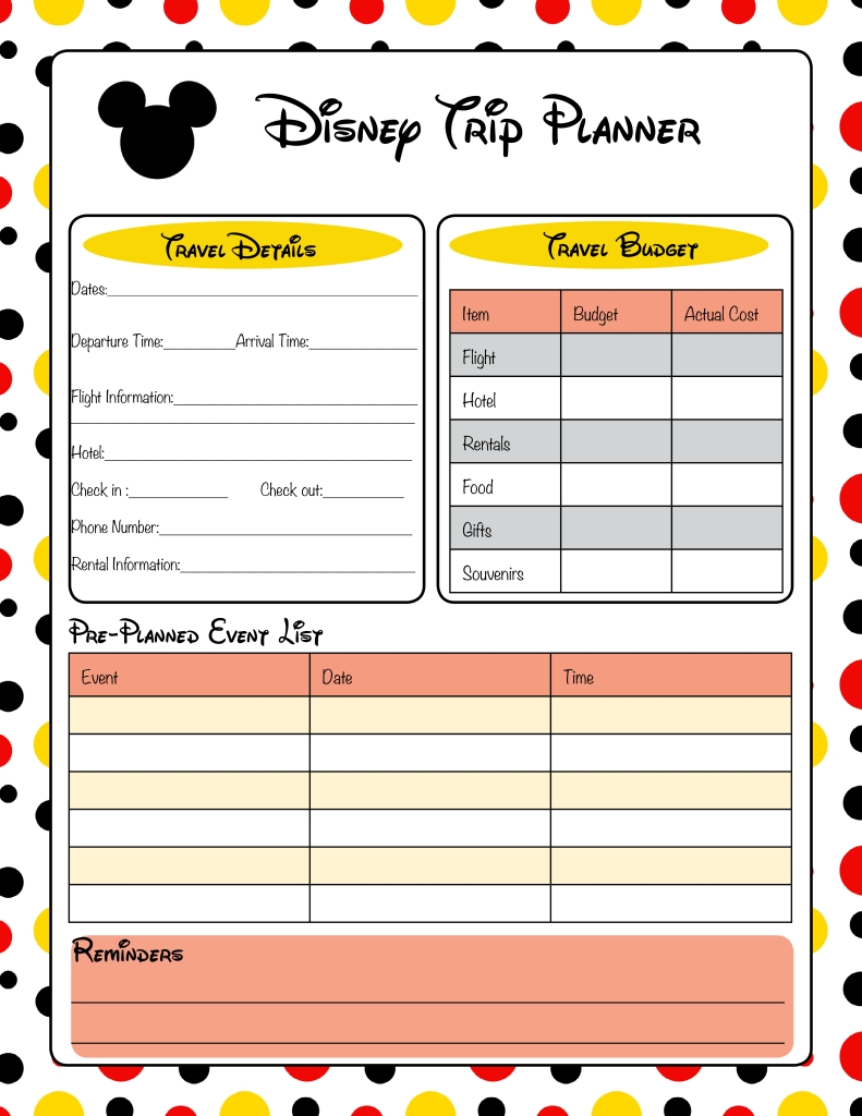 Free Printable Disney Vacation Planner | Disney Trip-Disney World Itinerary Template Download
