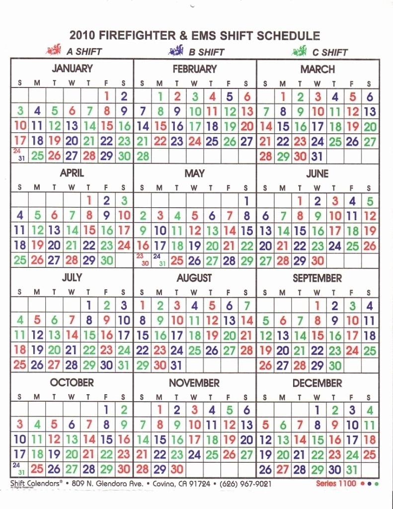 Free Printable Fire Department Shift Calendar 48 96 Shift-Firefighter Shift Calendar Template