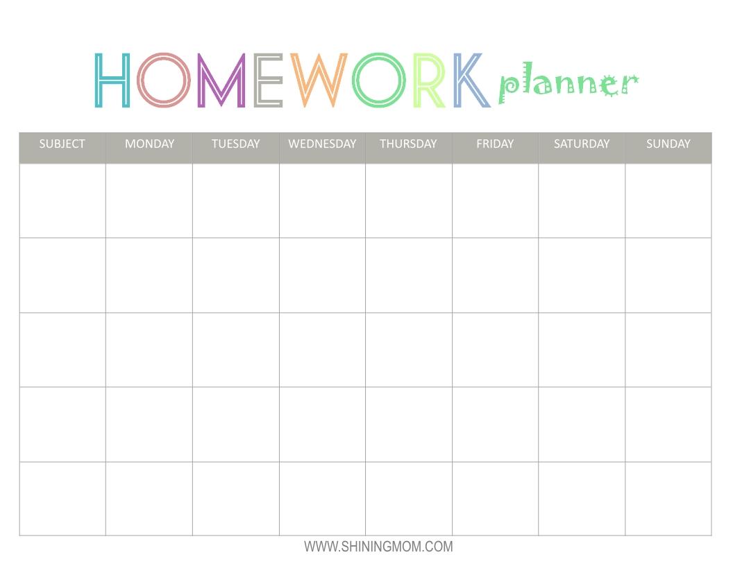 Free Printable: Homework Planner | Top Free Printables-Monthly Homework Calendar Printable
