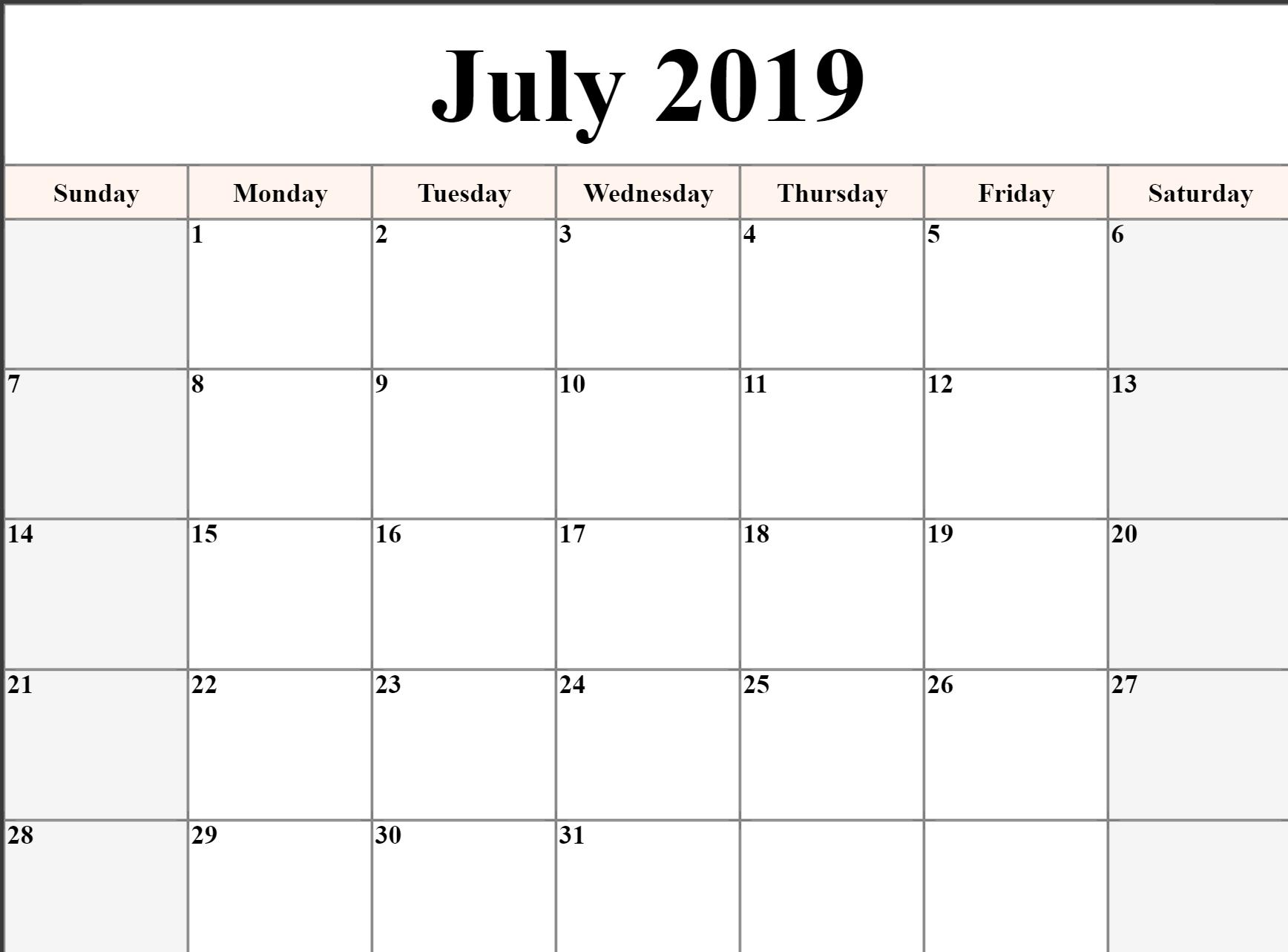 Free Printable July 2019 Calendar Download - Free Printable-Printable Monthly Calendars For June And July