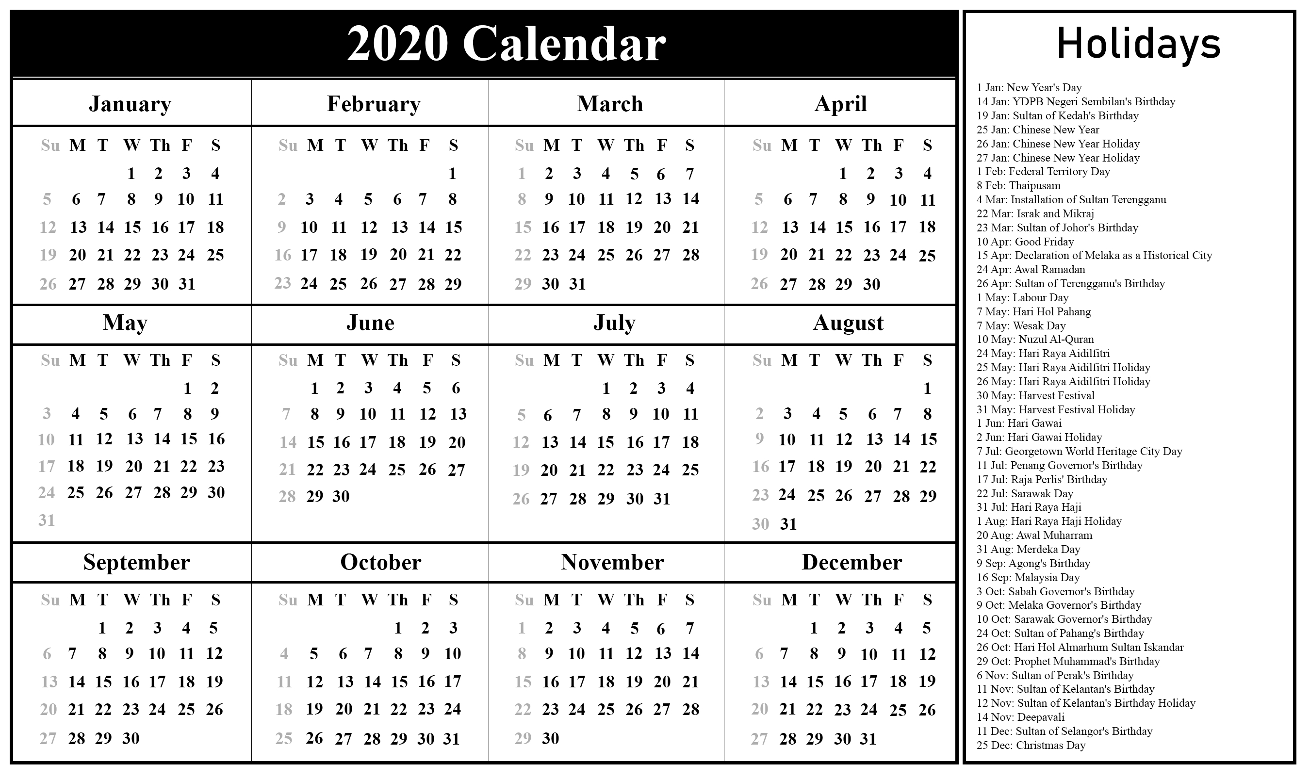 Free Printable Malaysia Calendar 2020 In Pdf, Excel & Word-2020 Calendar Of National Holidays Printable