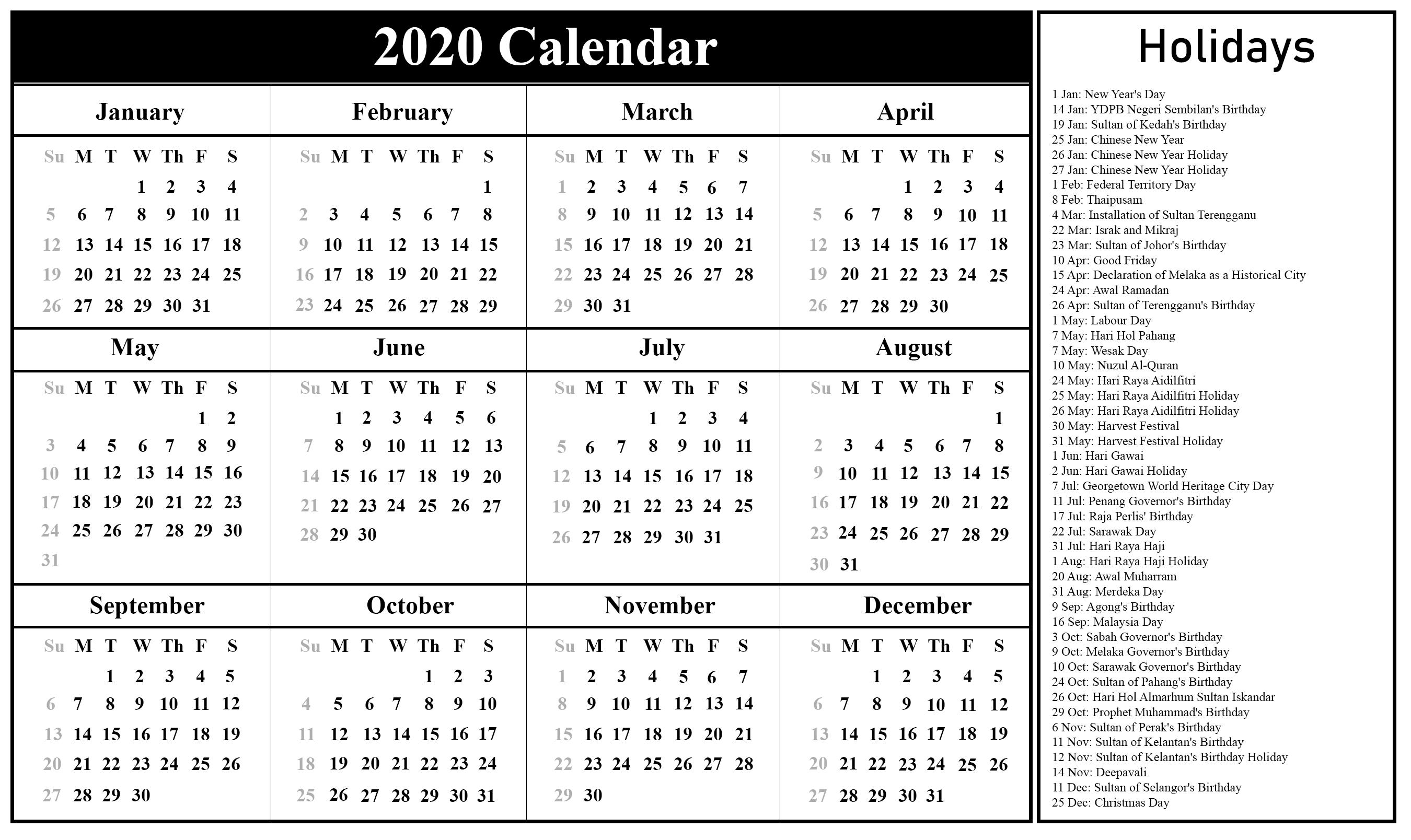 Free Printable Malaysia Calendar 2020 In Pdf, Excel & Word-2020 Calendar Of National Holidays Printable