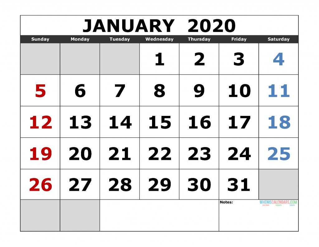 Free Printable Monthly Calendar 2020 Excel, Pdf, Image [Us-Large January 2020 Calendar