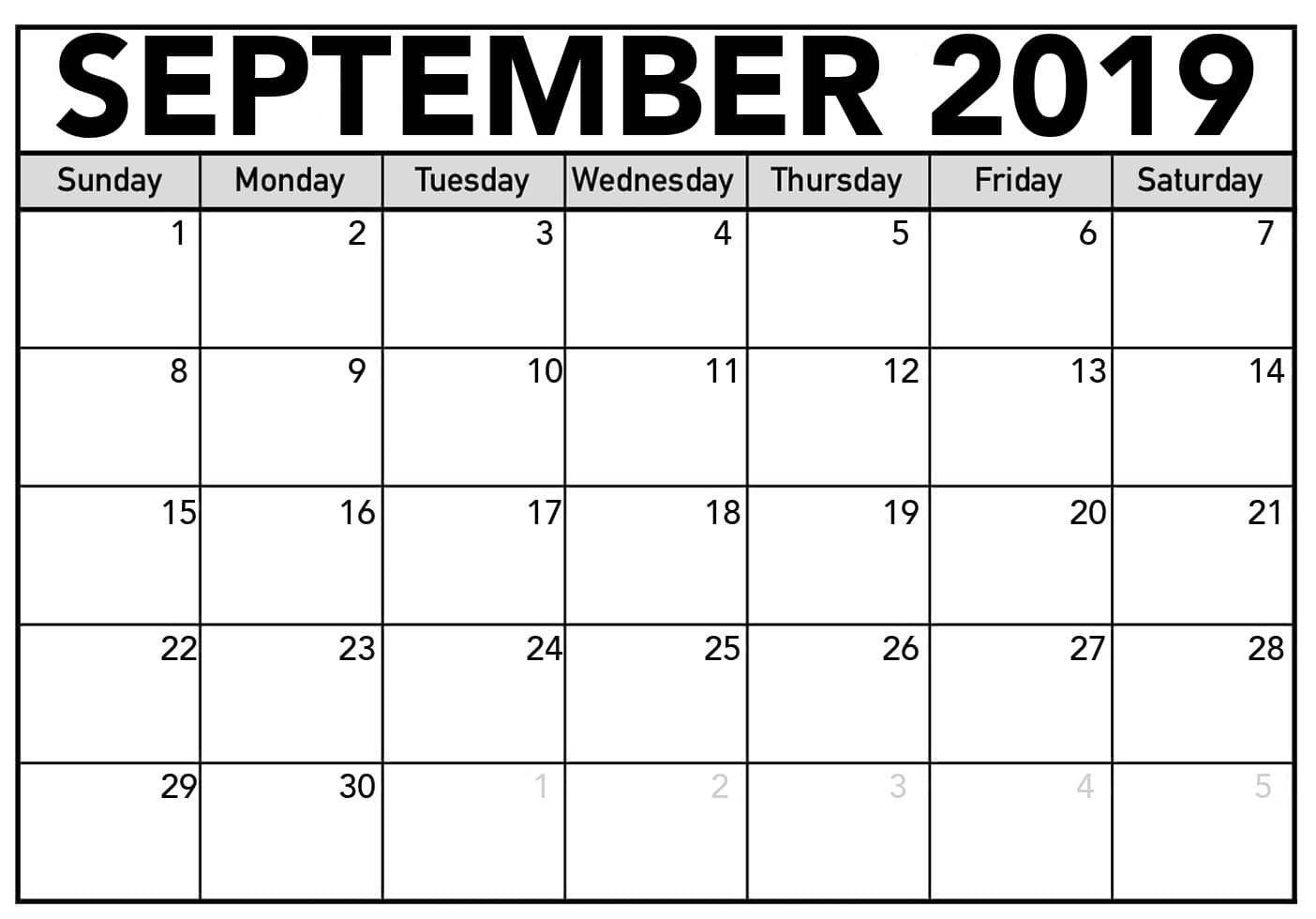 Free Printable September 2019 Calendar Free Download-Blank Printable Catholic Calender September