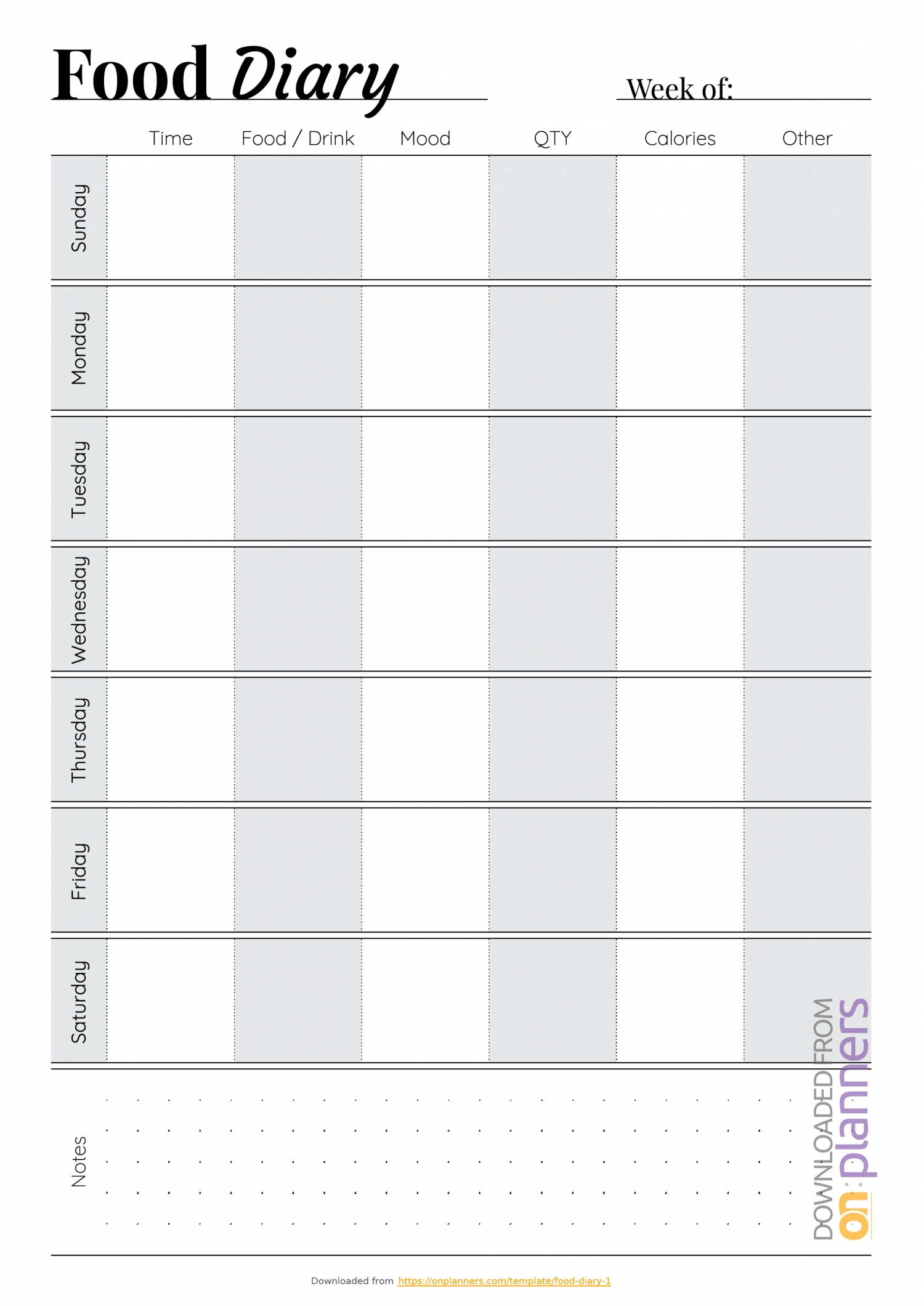 Free Printable Simple Food Diary Pdf Download-Monday - Friday Diary Template