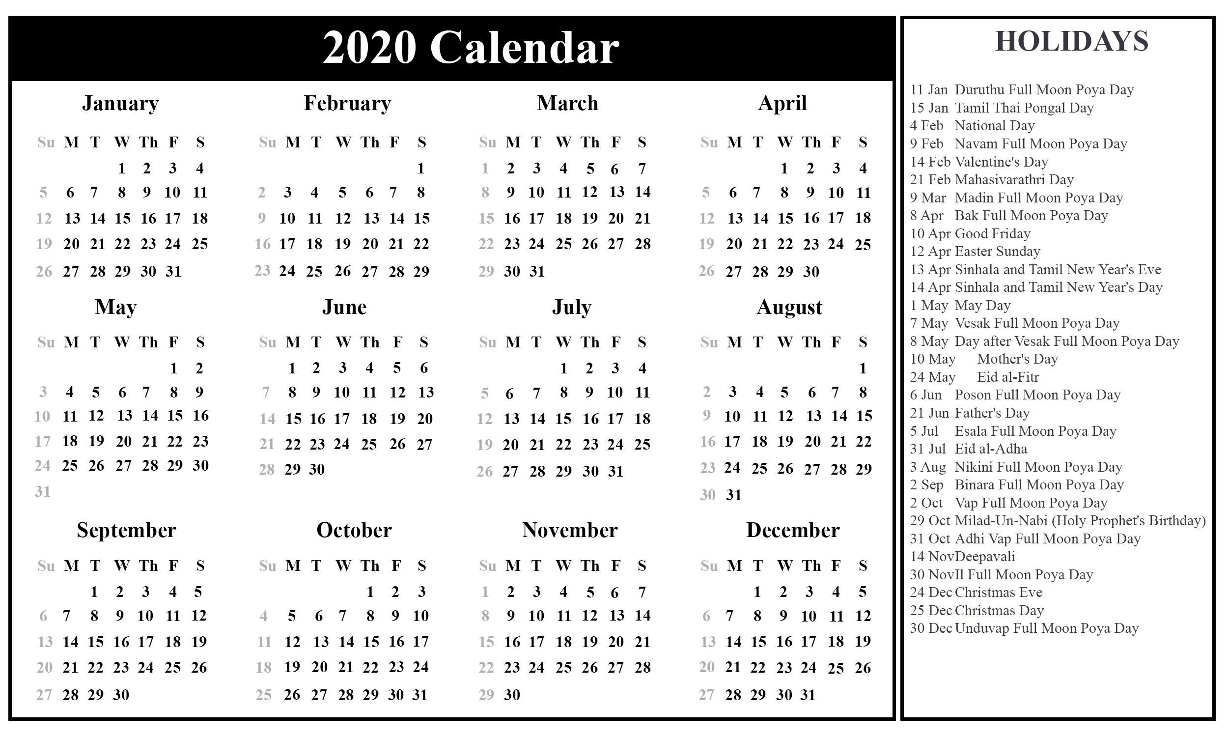 Free Printable Sri Lanka Calendar 2020 With Holidays In Pdf-2020 Holidays Printable List