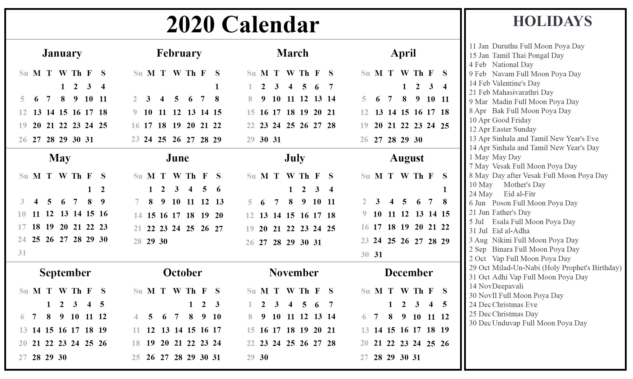 Free Printable Sri Lanka Calendar 2020 With Holidays In Pdf-January 2020 Calendar Sri Lanka