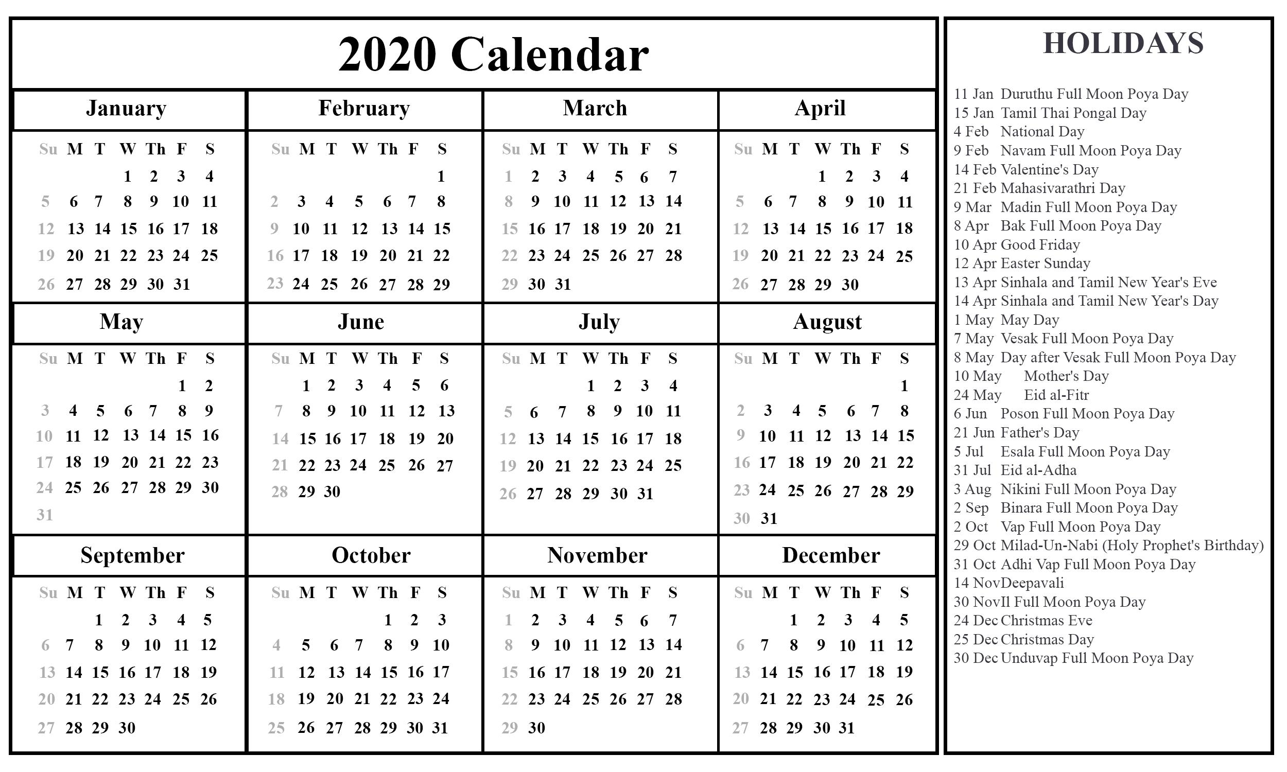 Free Printable Sri Lanka Calendar 2020 With Holidays In Pdf-January 2020 Calendar With Holidays Sri Lanka