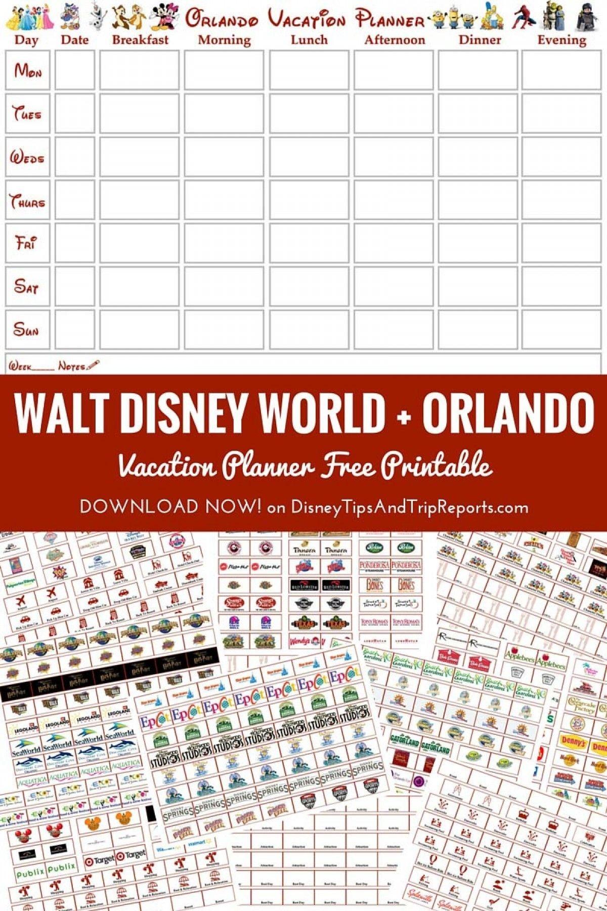 Free Printable Walt Disney World + Orlando Vacation Planner-Disney Week Blank Itinerary