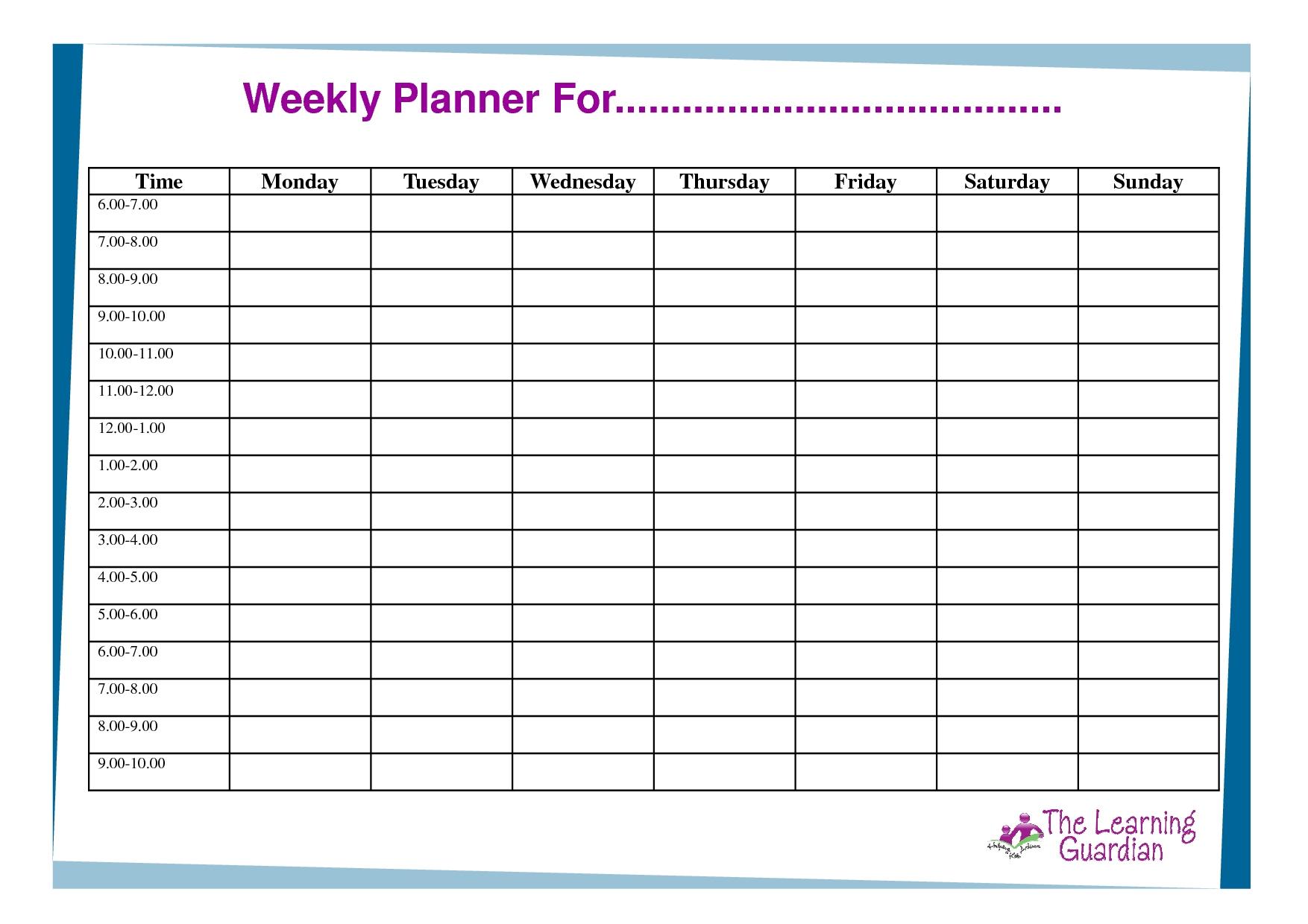 Free Printable Weekly Calendar Templates | Weekly Planner-Monday-Friday Blank Weekly Schedule