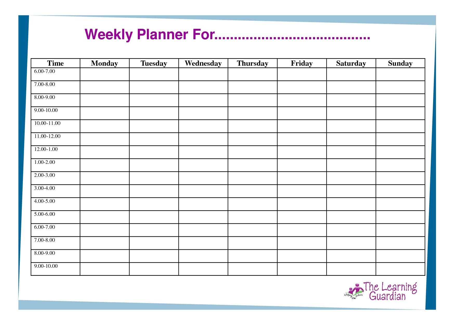 Free Printable Weekly Calendar Templates | Weekly Planner-Monday To Friday Blank Calendar