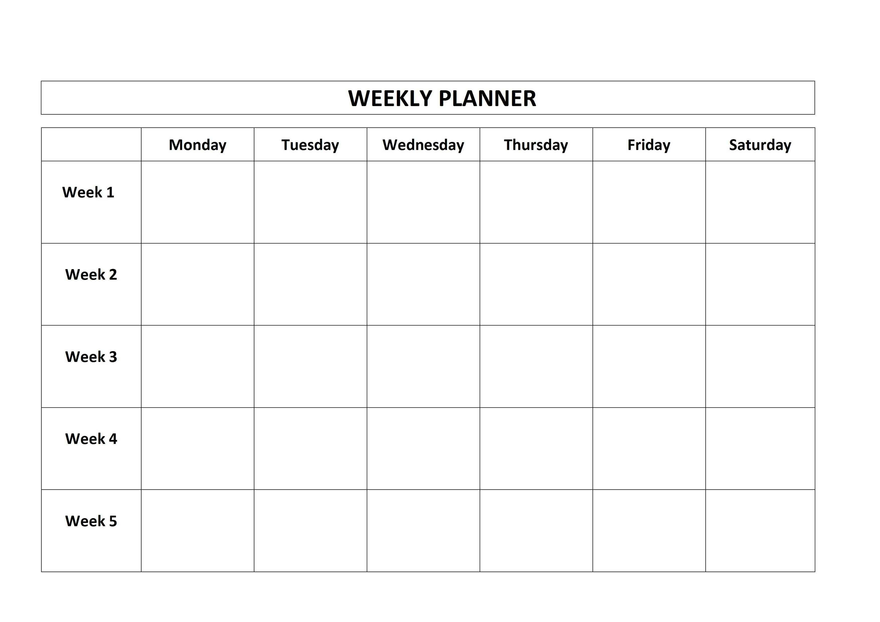 Free Printable Weekly Planner Monday Friday School Calendar-One Week Monday Through Friday Calendar Template
