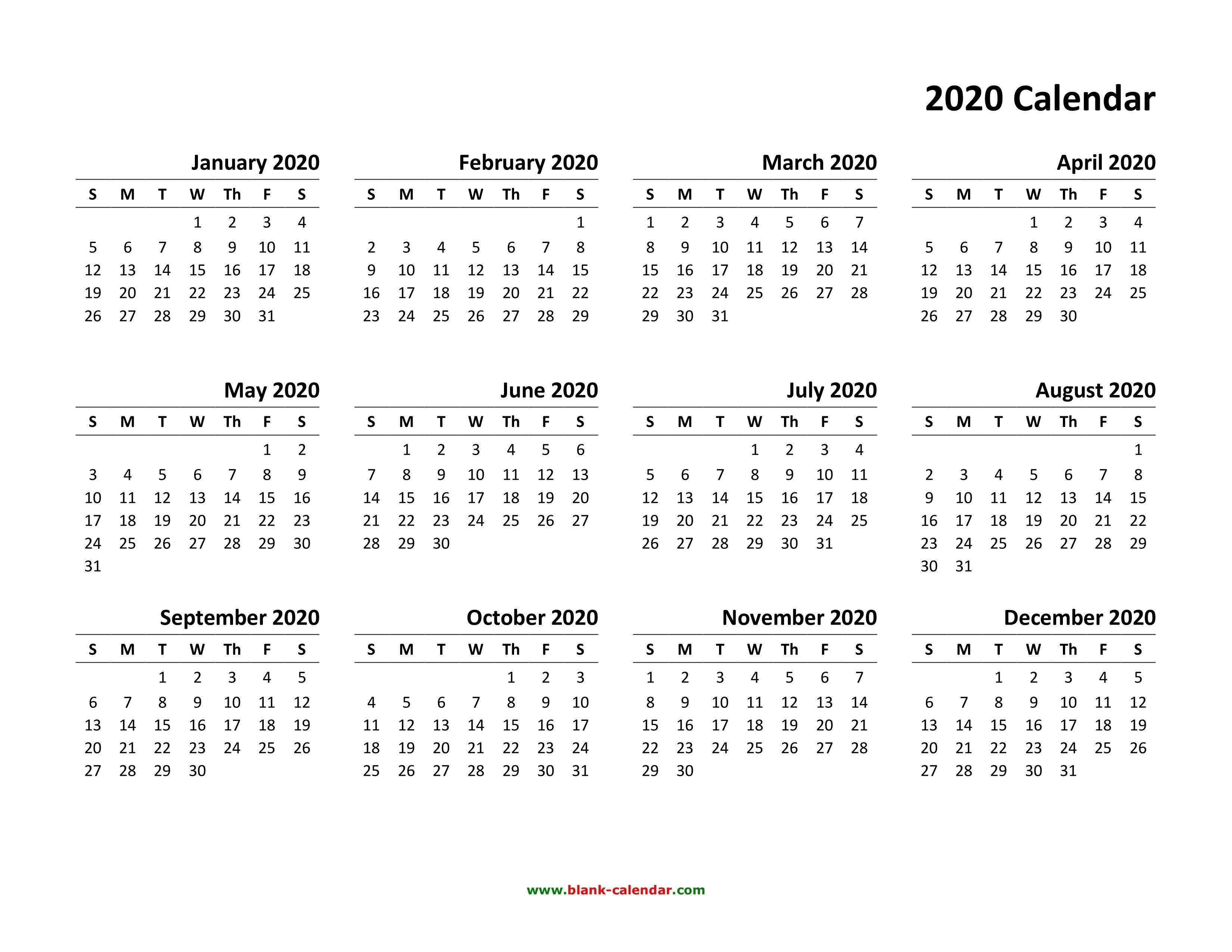 Free Printable Yearly Calendar 2020 | Isacl-6 Month Calendar 2020 Template Free