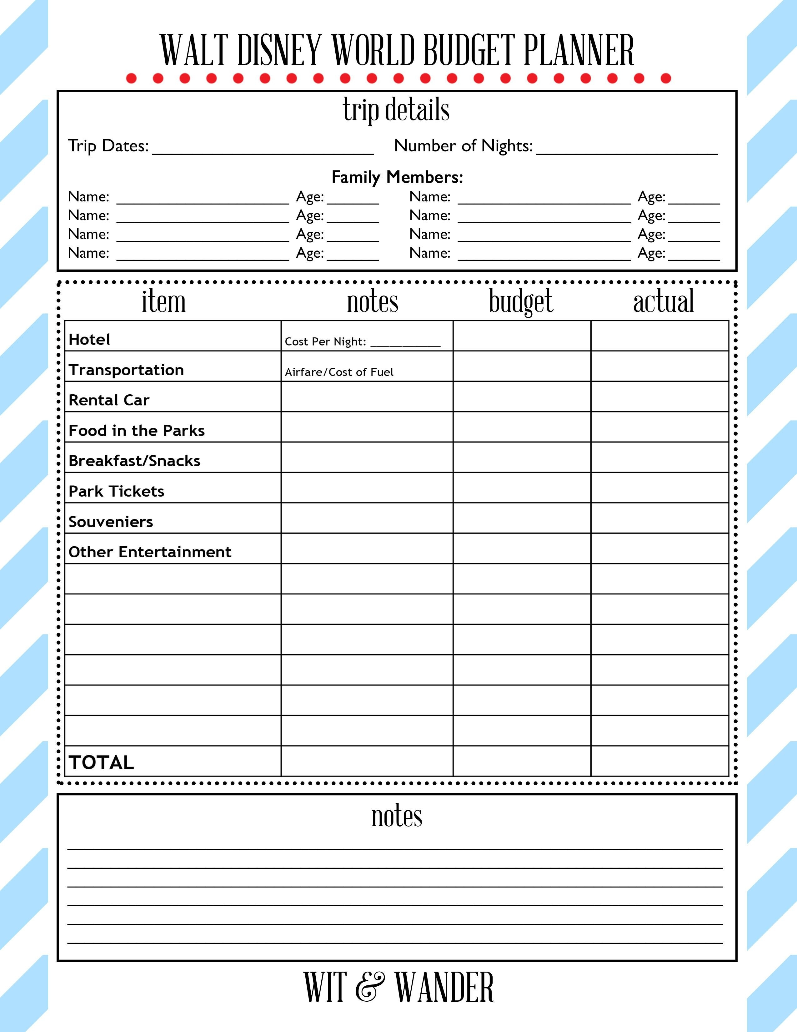 Free Printables | Disney Parks! In 2019 | Disney On A Budget-Free Printable Disney Week Itinerary Template