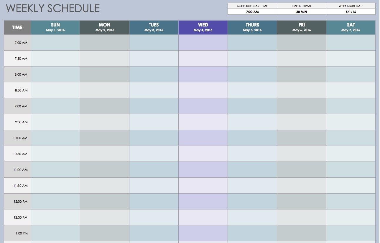 Free Weekly Schedule Templates For Excel - Smartsheet-Blank Weekly Calendar 15 Minute Increments