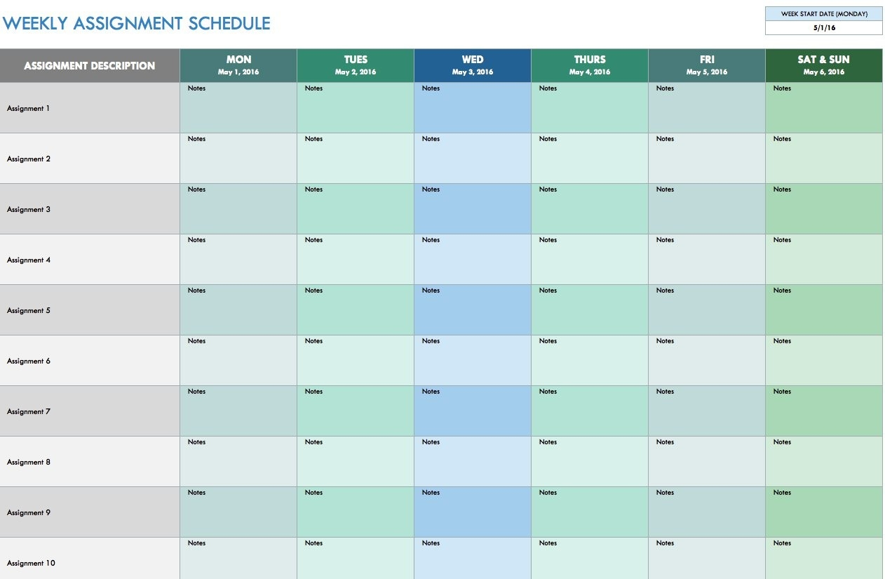 Free Weekly Schedule Templates For Excel - Smartsheet-Free Bill Payment Calendar Template