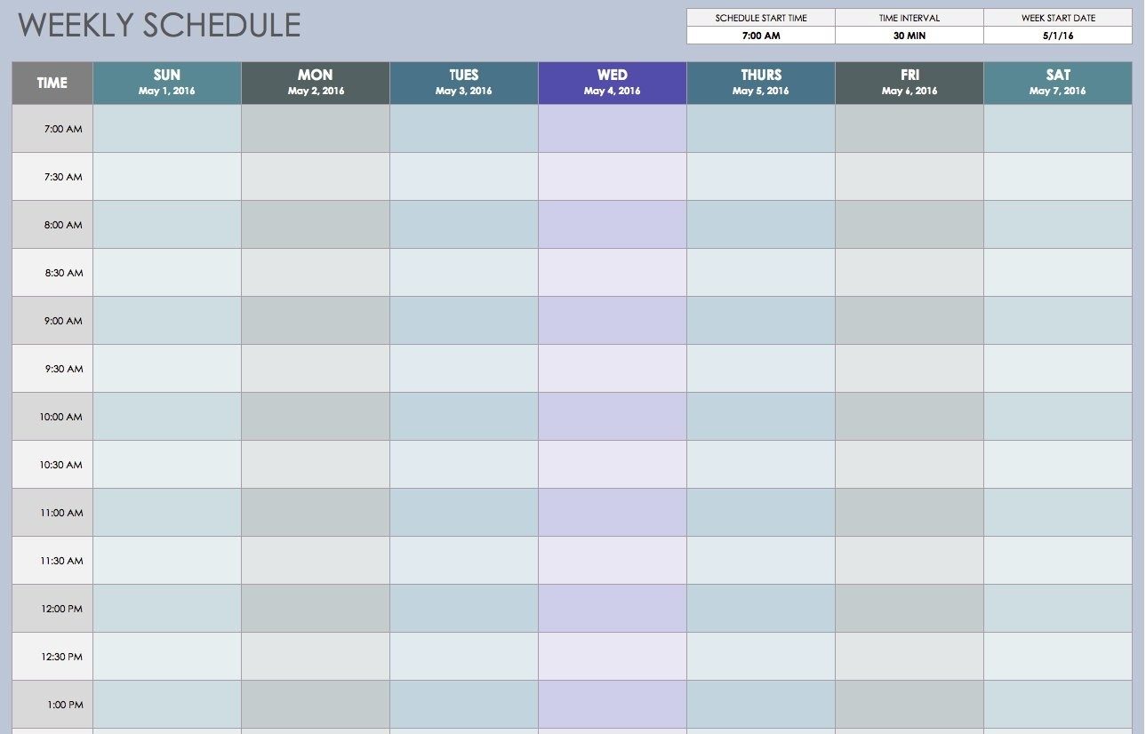 Free Weekly Schedule Templates For Excel - Smartsheet-Two Week Schedule Template
