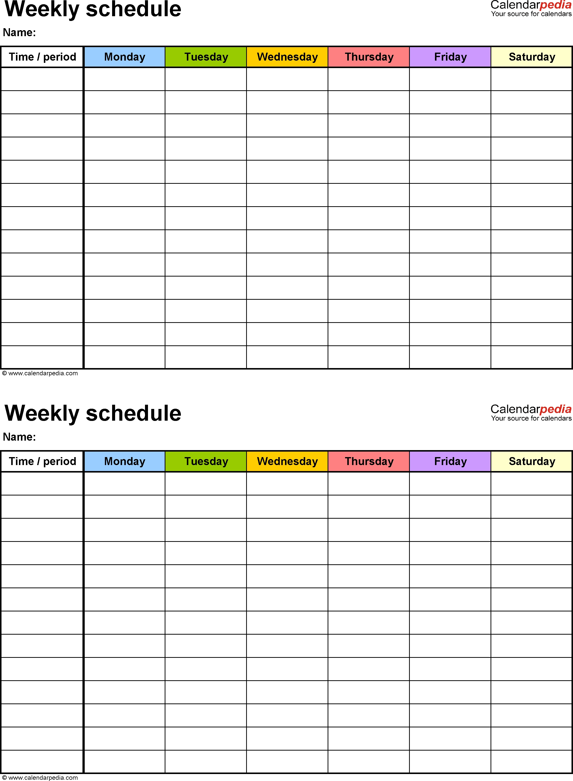 Free Weekly Schedule Templates For Word - 18 Templates-Two Week Schedule Template