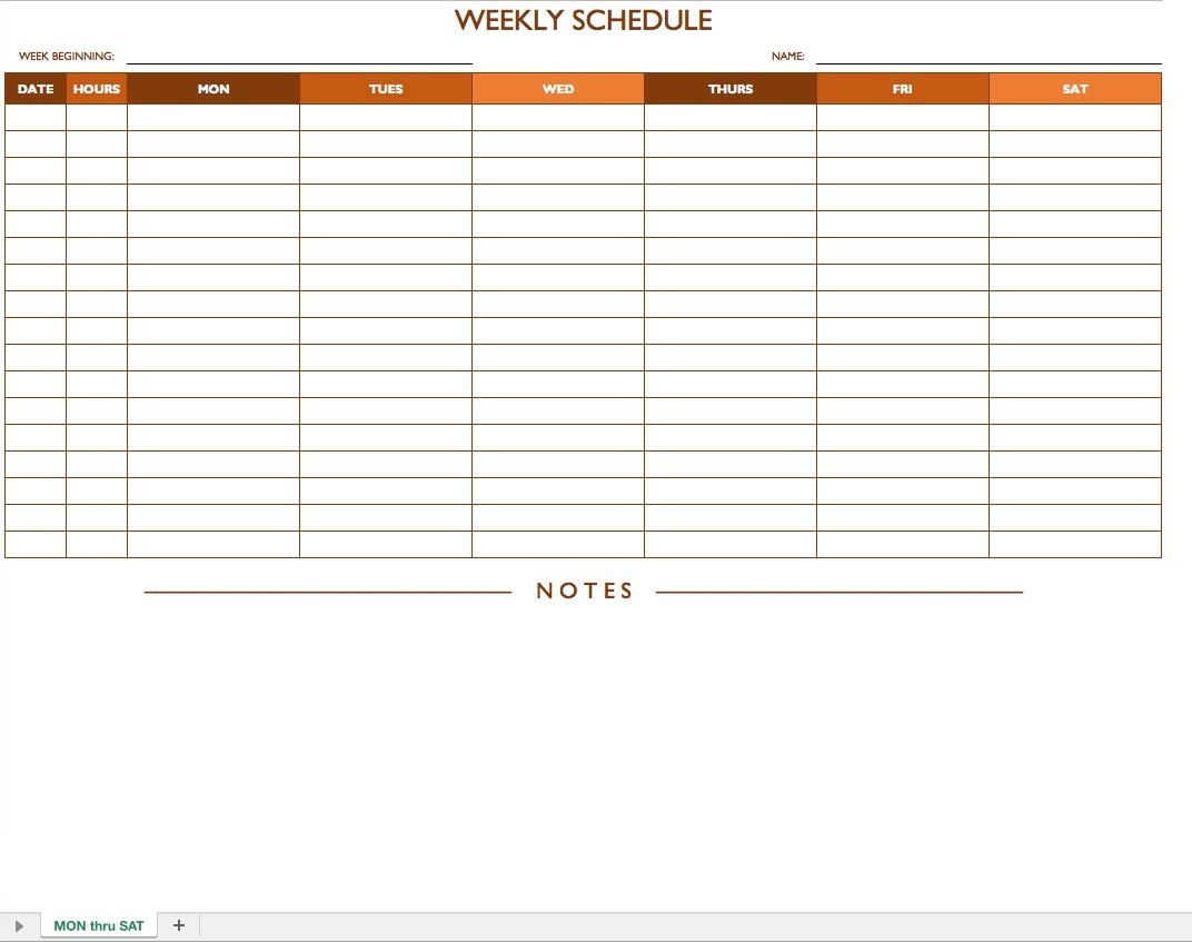 Free Work Schedule Templates For Word And Excel |Smartsheet-Monday To Friday Schedule Template