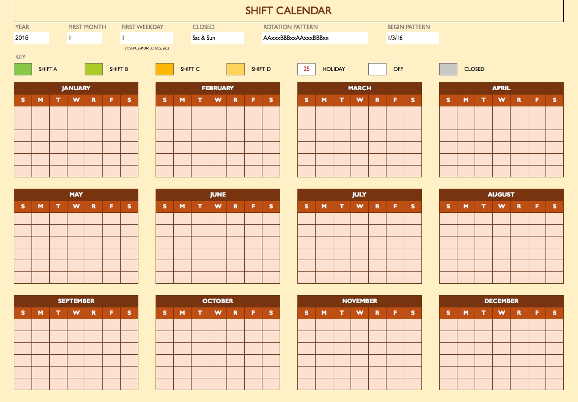 Free Work Schedule Templates For Word And Excel |Smartsheet-Shift Planner Templates Printable