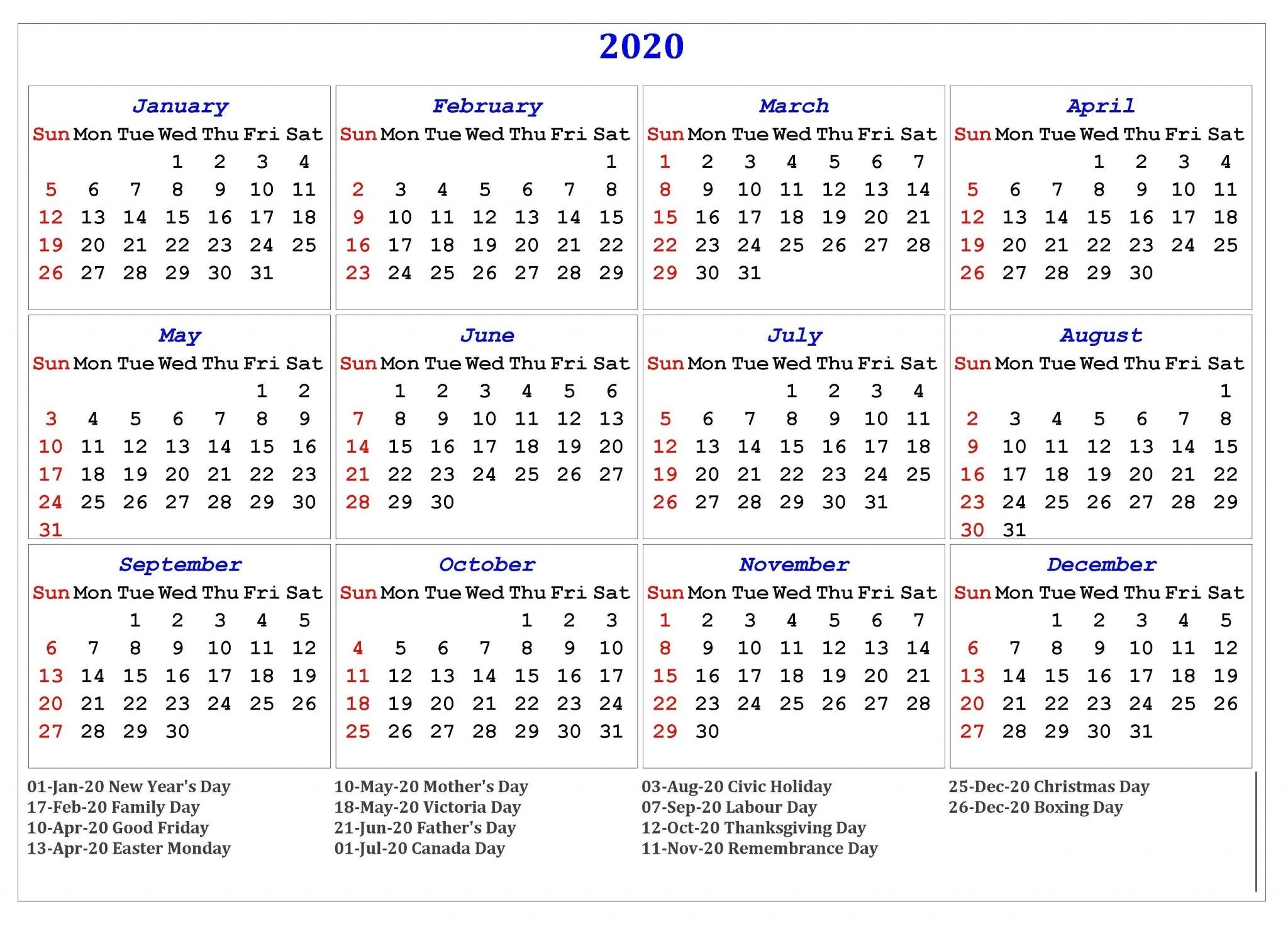 Free Yearly Printable Calendar 2020 With Holidays-Calendar 2020 Printable Holidays Special
