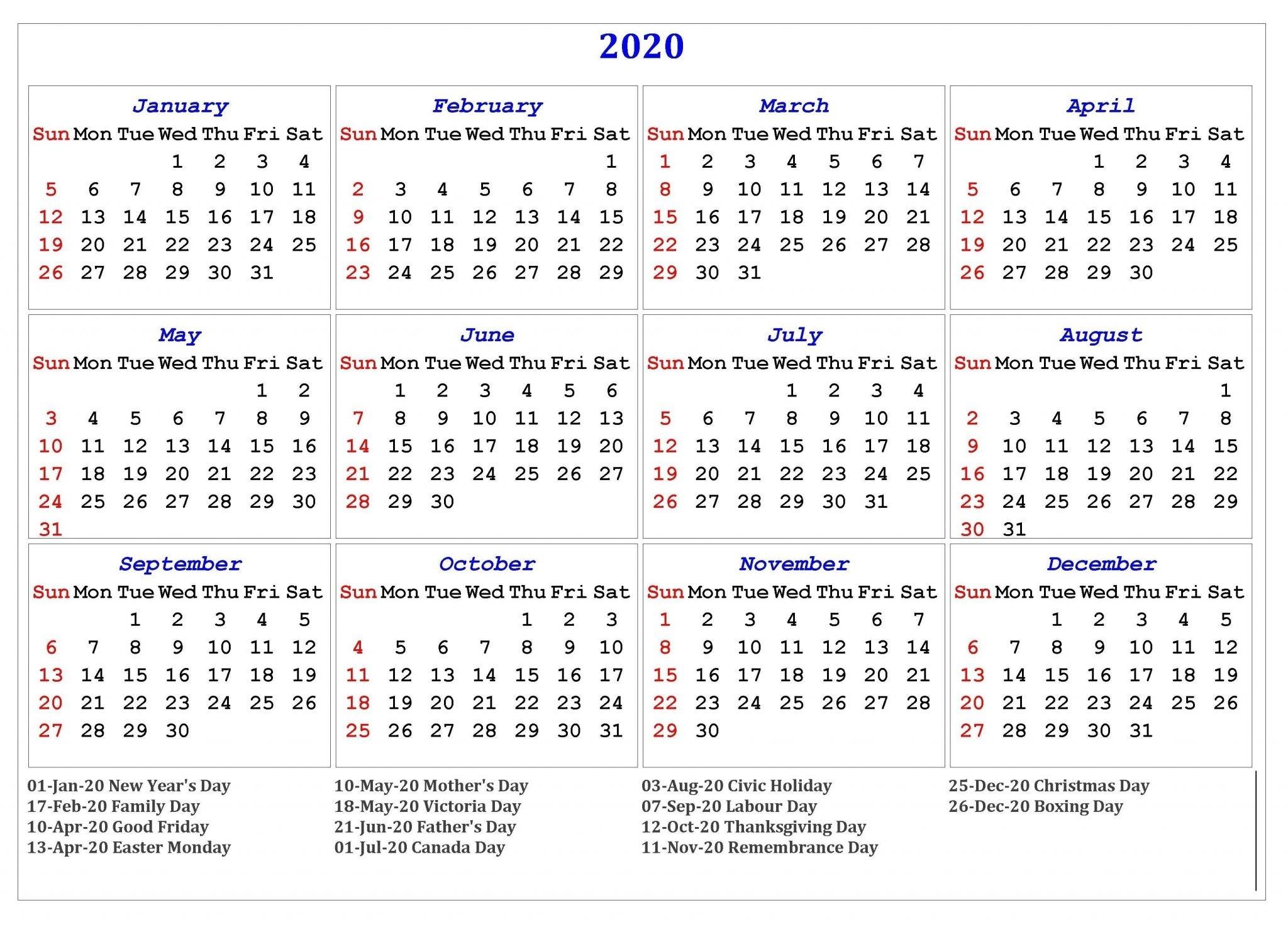 Free Yearly Printable Calendar 2020 With Holidays-Printable 2020 Holidays India