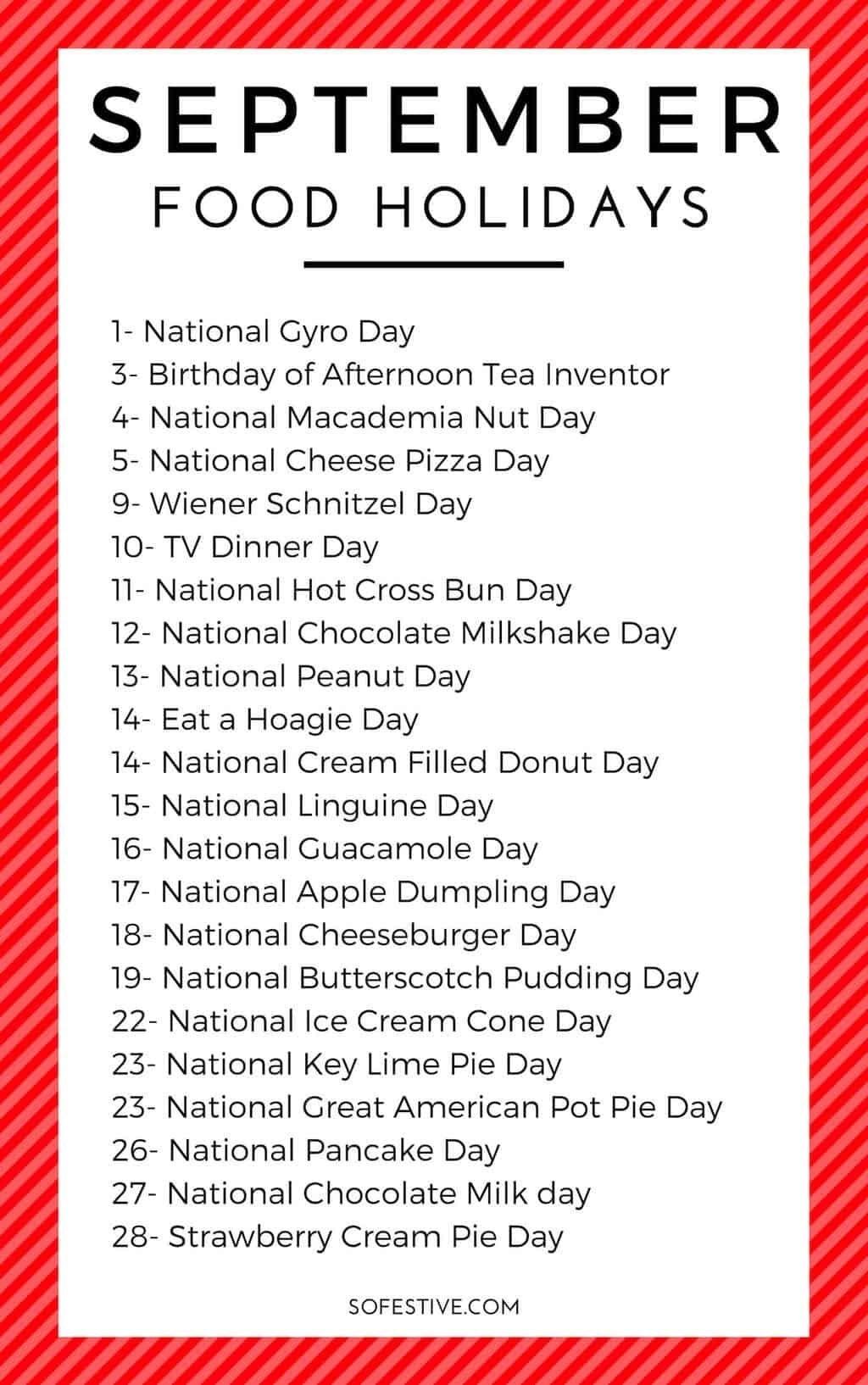 Fun September Holidays- Random & Fun Holidays You'll Like-List Of All Food National Holidays