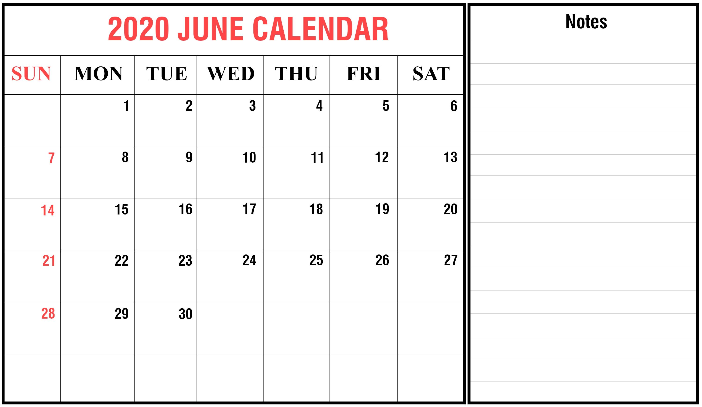 Get June 2020 Calendar Printable Blank Templates Fillable-Free Fillable 2020 Calendar Template