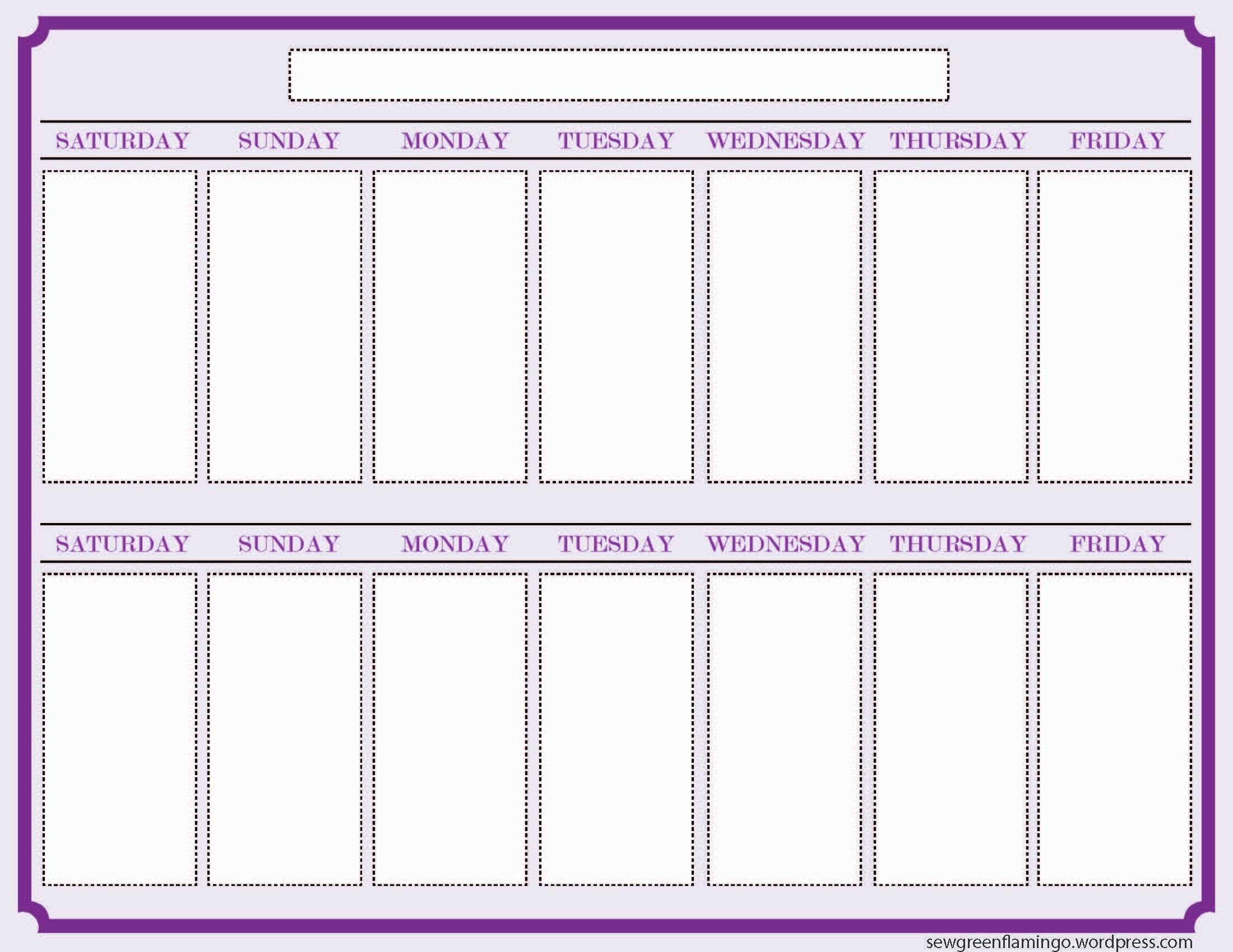 Getting Organized! 2-Week Planner | This Week | Blank-Printable 2 Week Blank Calendar Template