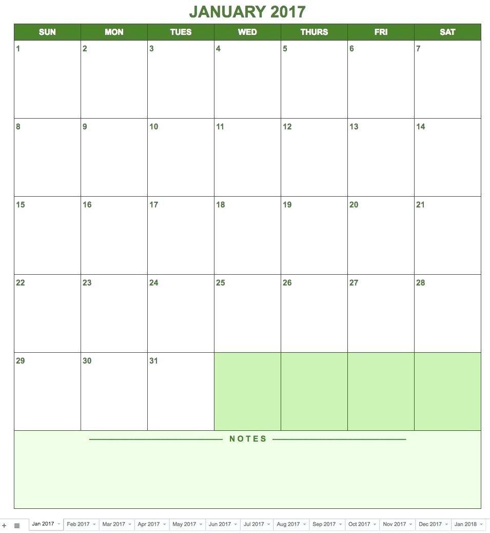 Google Docs Calendar Template 2018 – Proteussheet.co-Google Drive Monthly Calendar Template