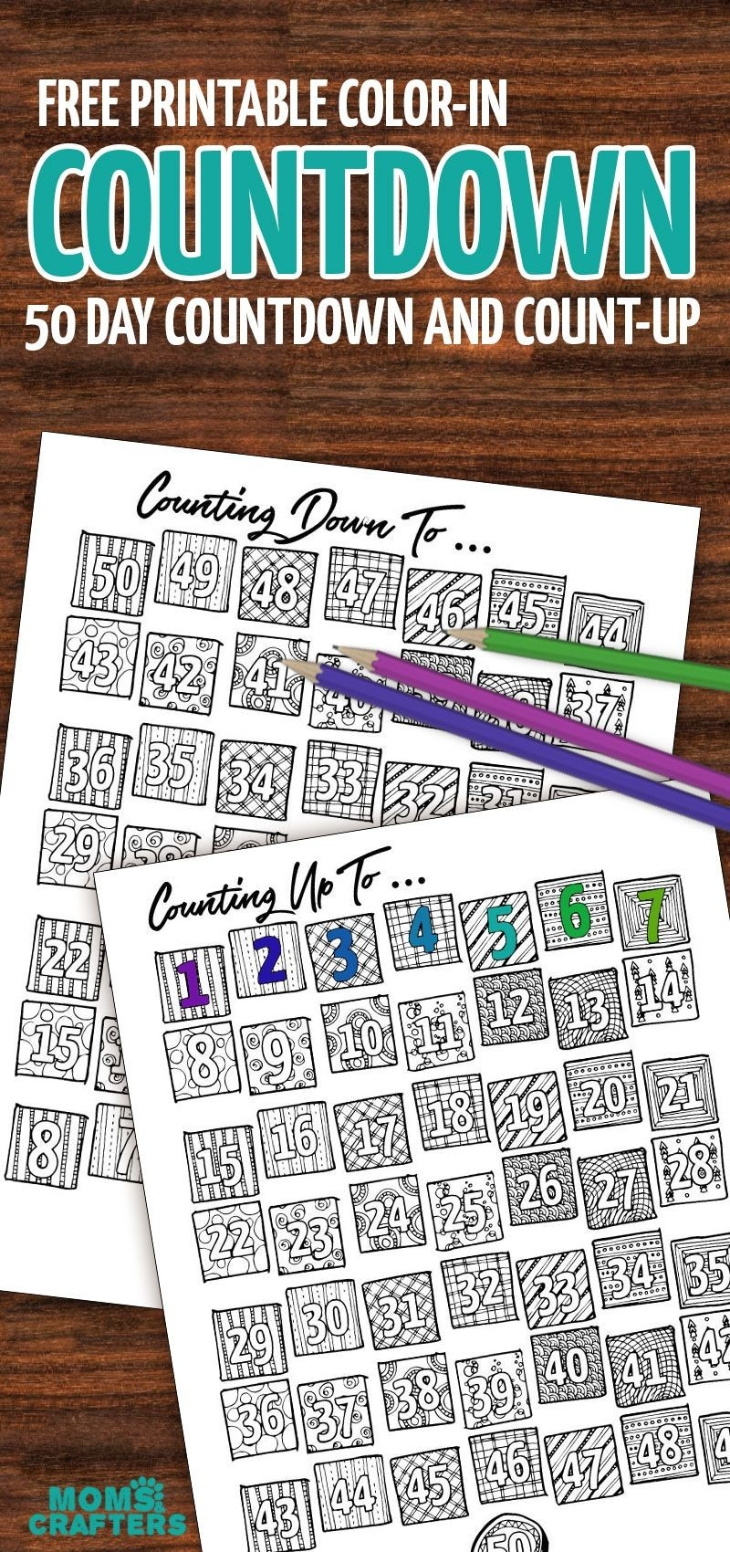 Grab This Fun Color-In Countdown And Progress Tracker | Moms-Blank Countdown Calendar 50 Days